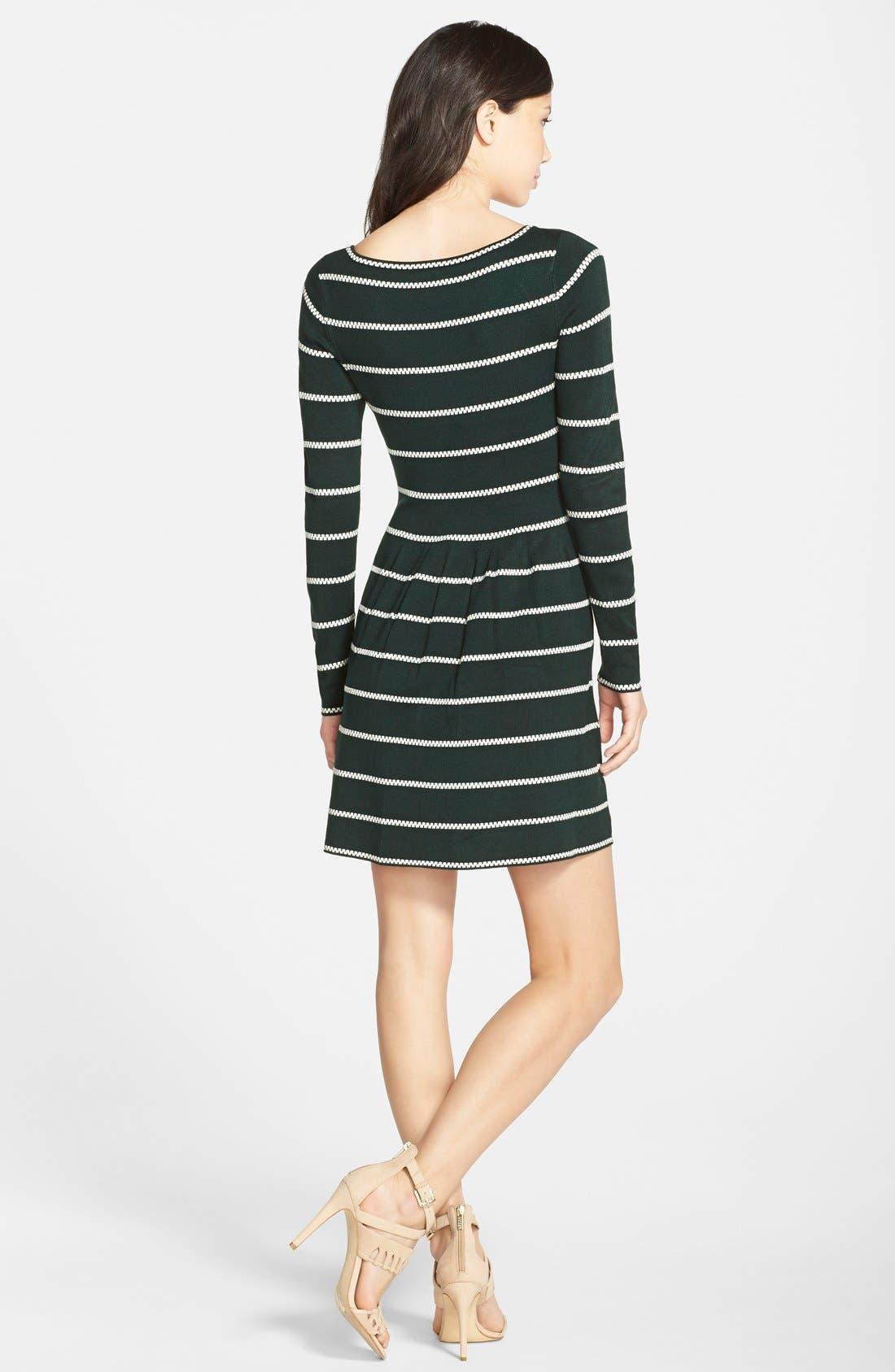 Stripe Fit & Flare Sweater Dress,                             Alternate thumbnail 2, color,                             310