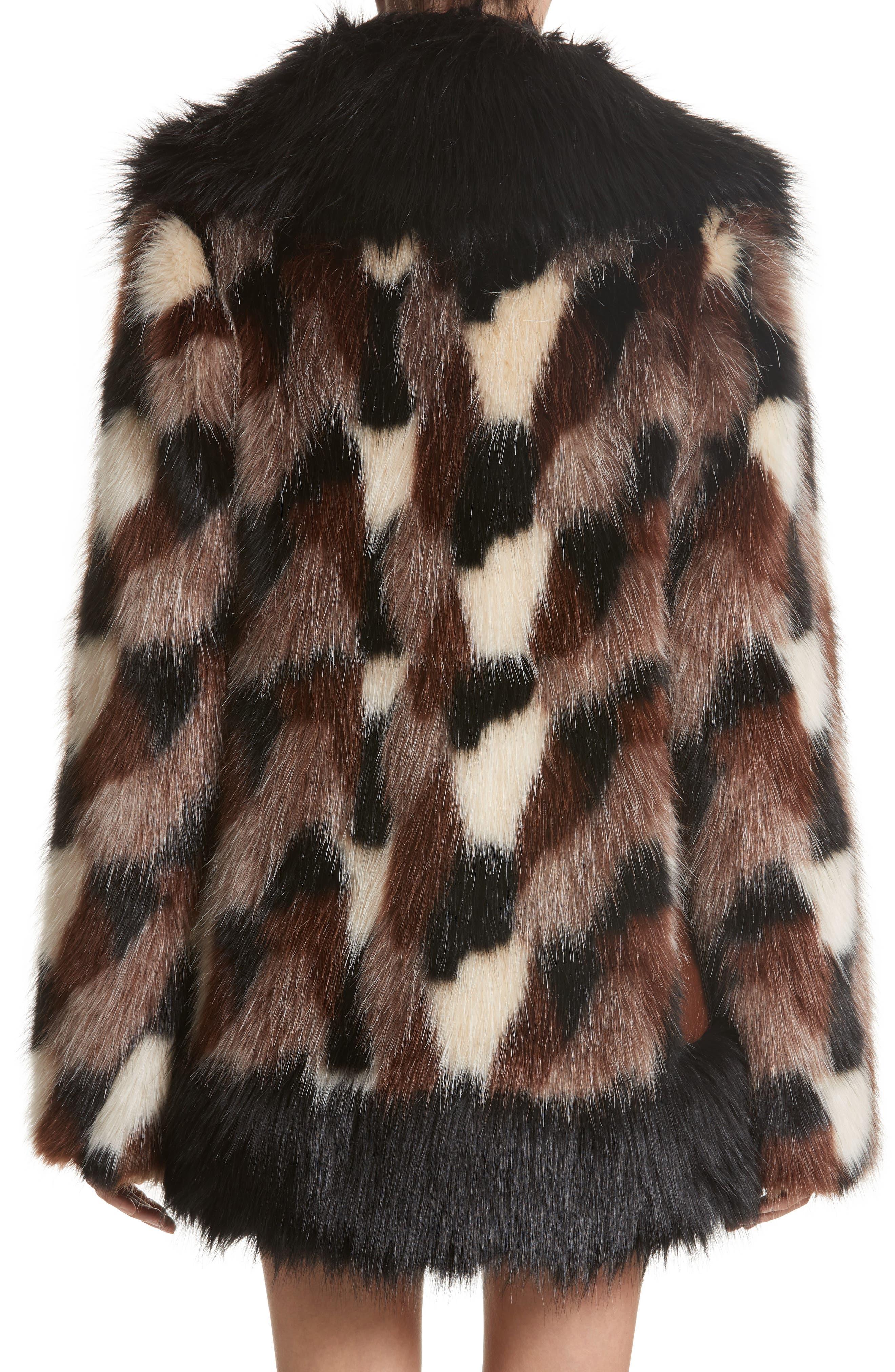 Patchwork Faux Fur Jacket,                             Alternate thumbnail 2, color,