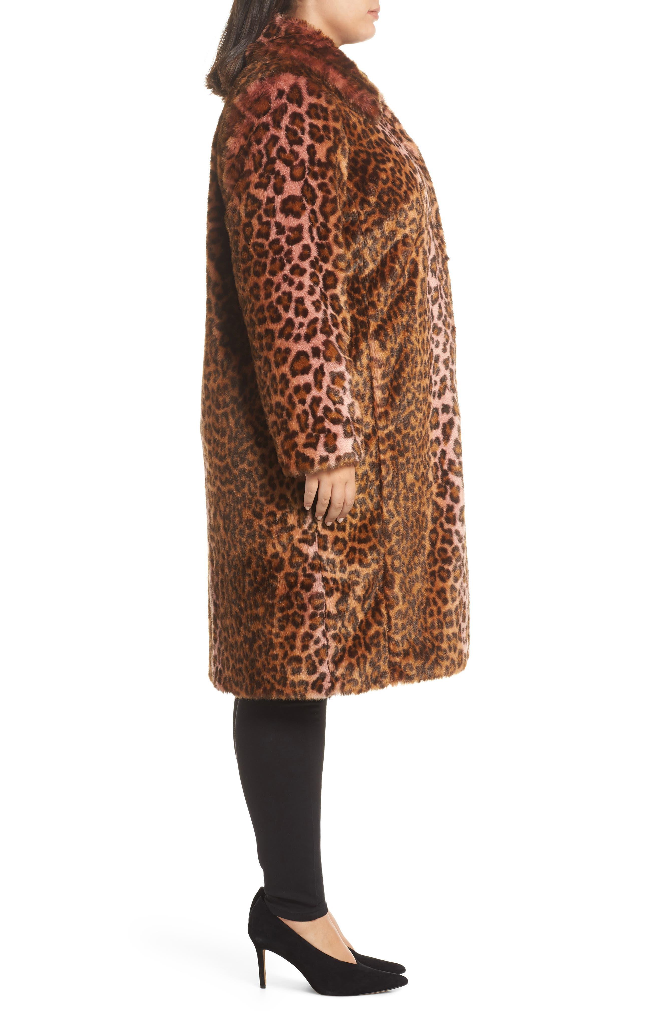 Leopard Print Faux Fur Car Coat,                             Alternate thumbnail 3, color,                             PINK LEOPARD
