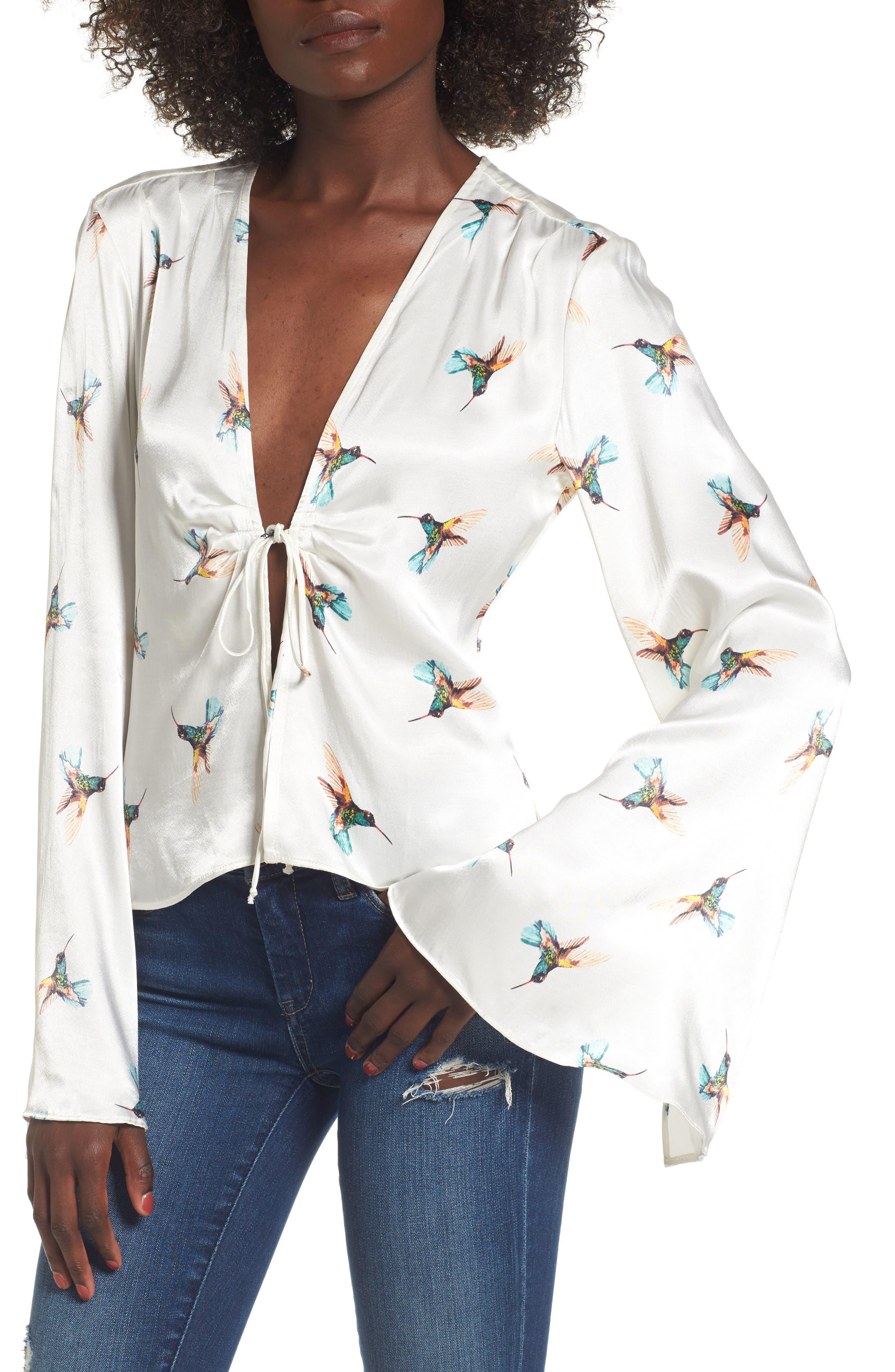 Emma Tie Front Top,                         Main,                         color, 100