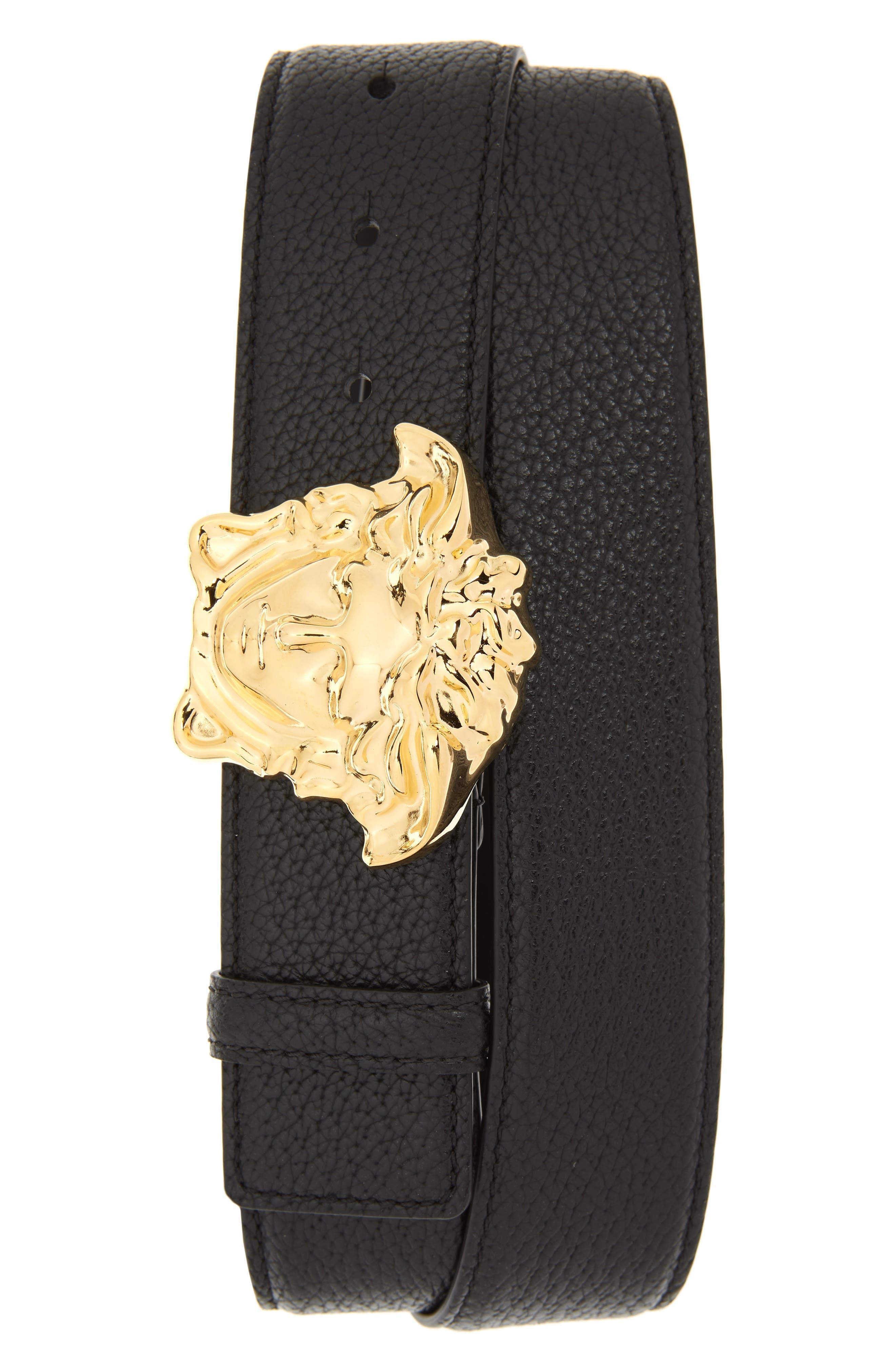 Medusa Buckle Leather Belt,                             Main thumbnail 1, color,                             BLACK WARM GOLD