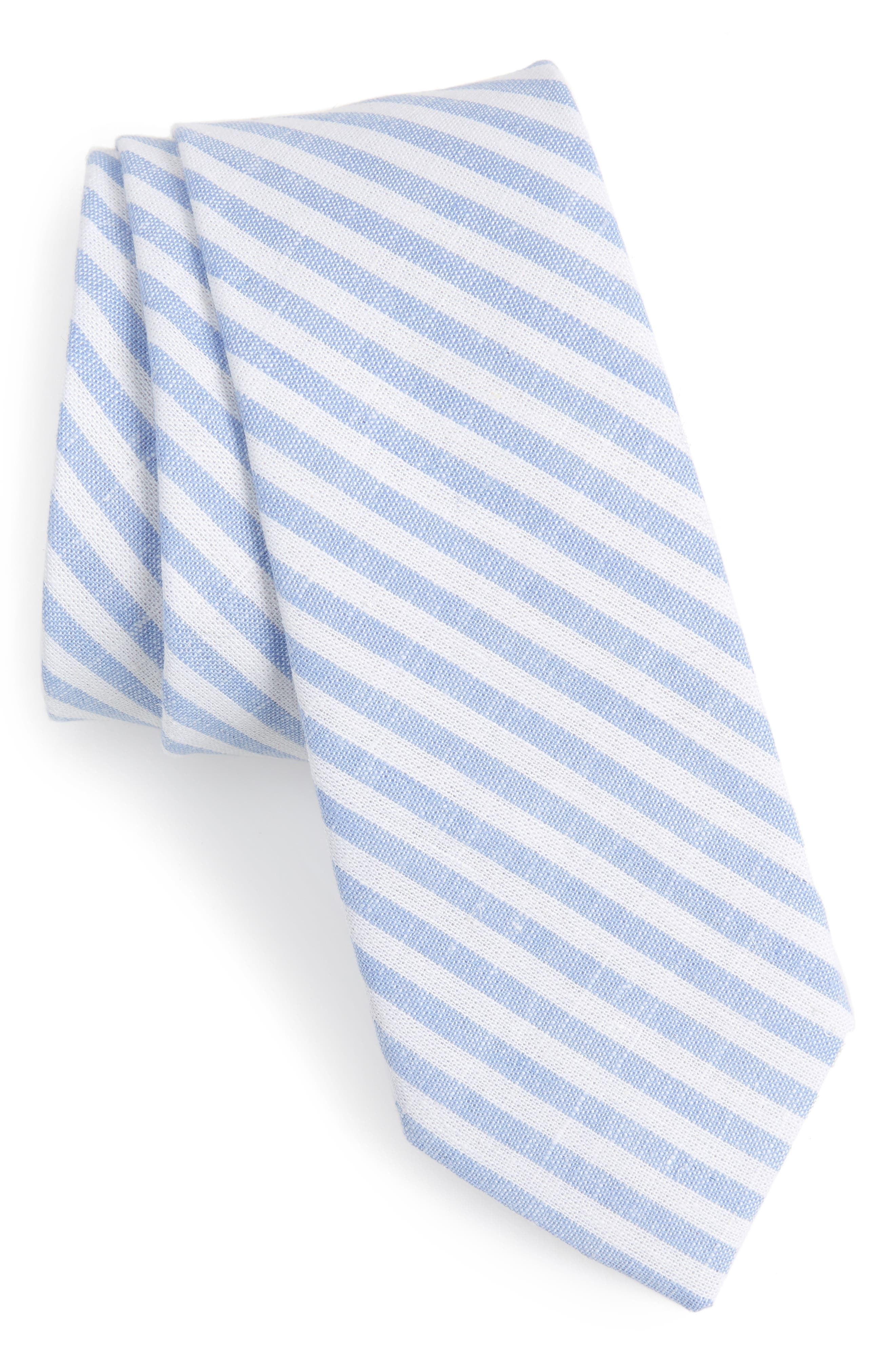 Telary Stripe Cotton Skinny Tie,                             Main thumbnail 1, color,