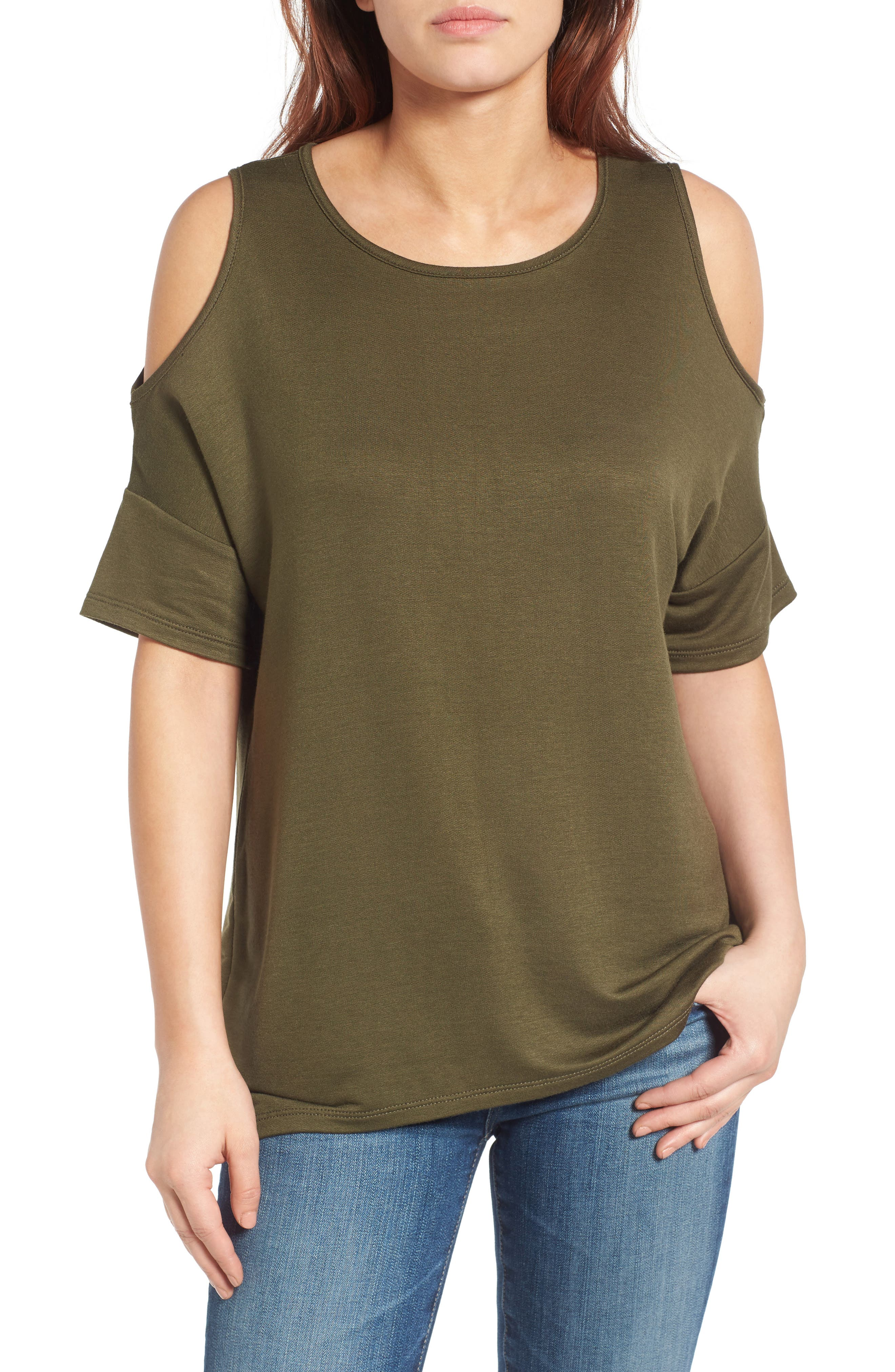 High/Low Cold Shoulder Sweatshirt,                             Main thumbnail 3, color,