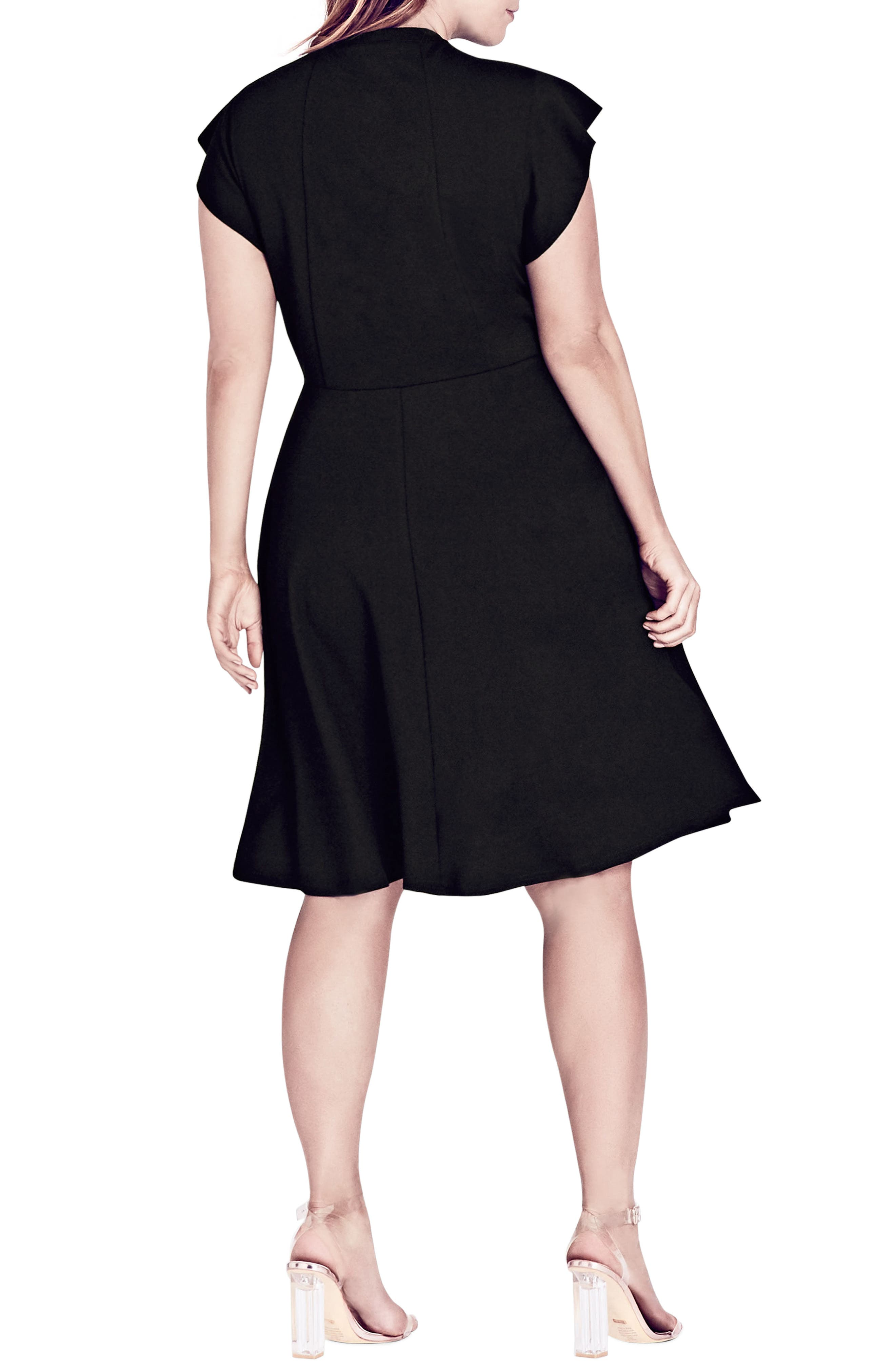 CITY CHIC,                             Frill Sleeve Fit & Flare Dress,                             Alternate thumbnail 2, color,                             BLACK