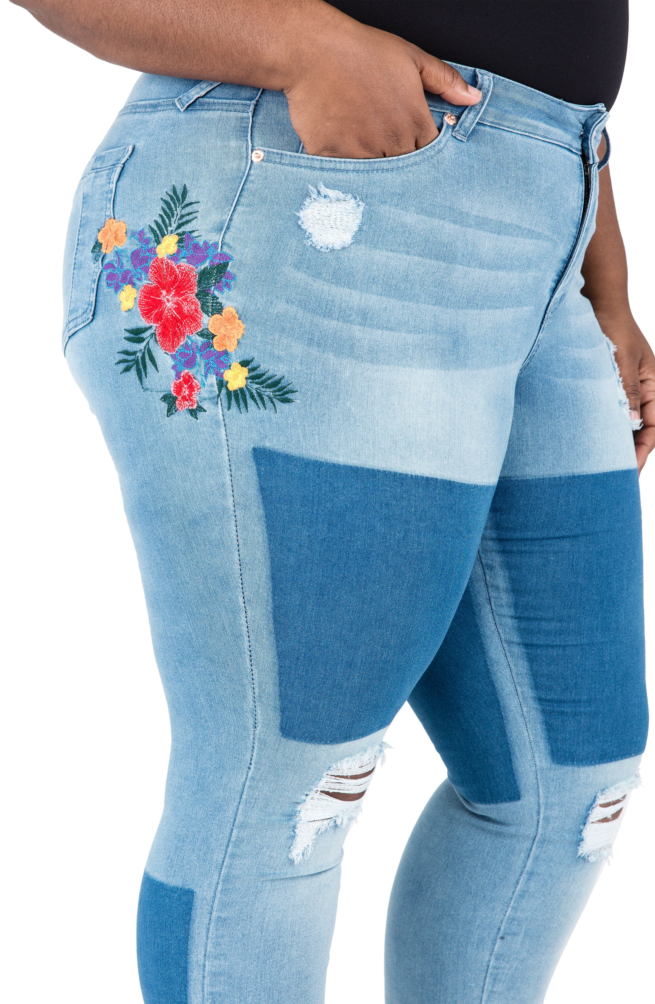 Madison Ripped & Embroidered Skinny Jeans,                             Alternate thumbnail 4, color,                             BLUE