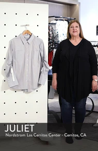 Gathered Sleeve Button Front Shirt, sales video thumbnail