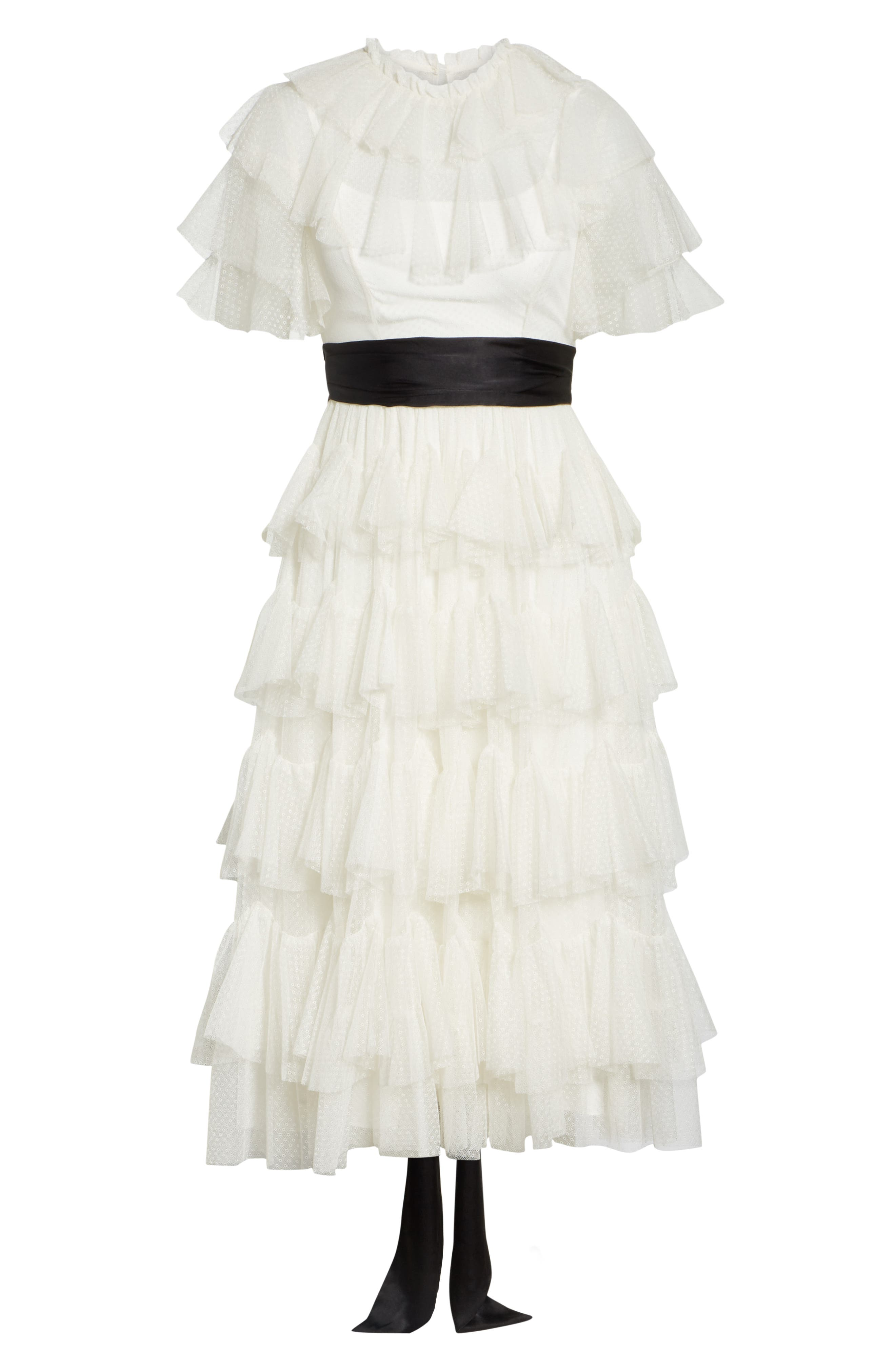 Tiered Tea Length Tulle Dress,                             Alternate thumbnail 6, color,                             PEARL