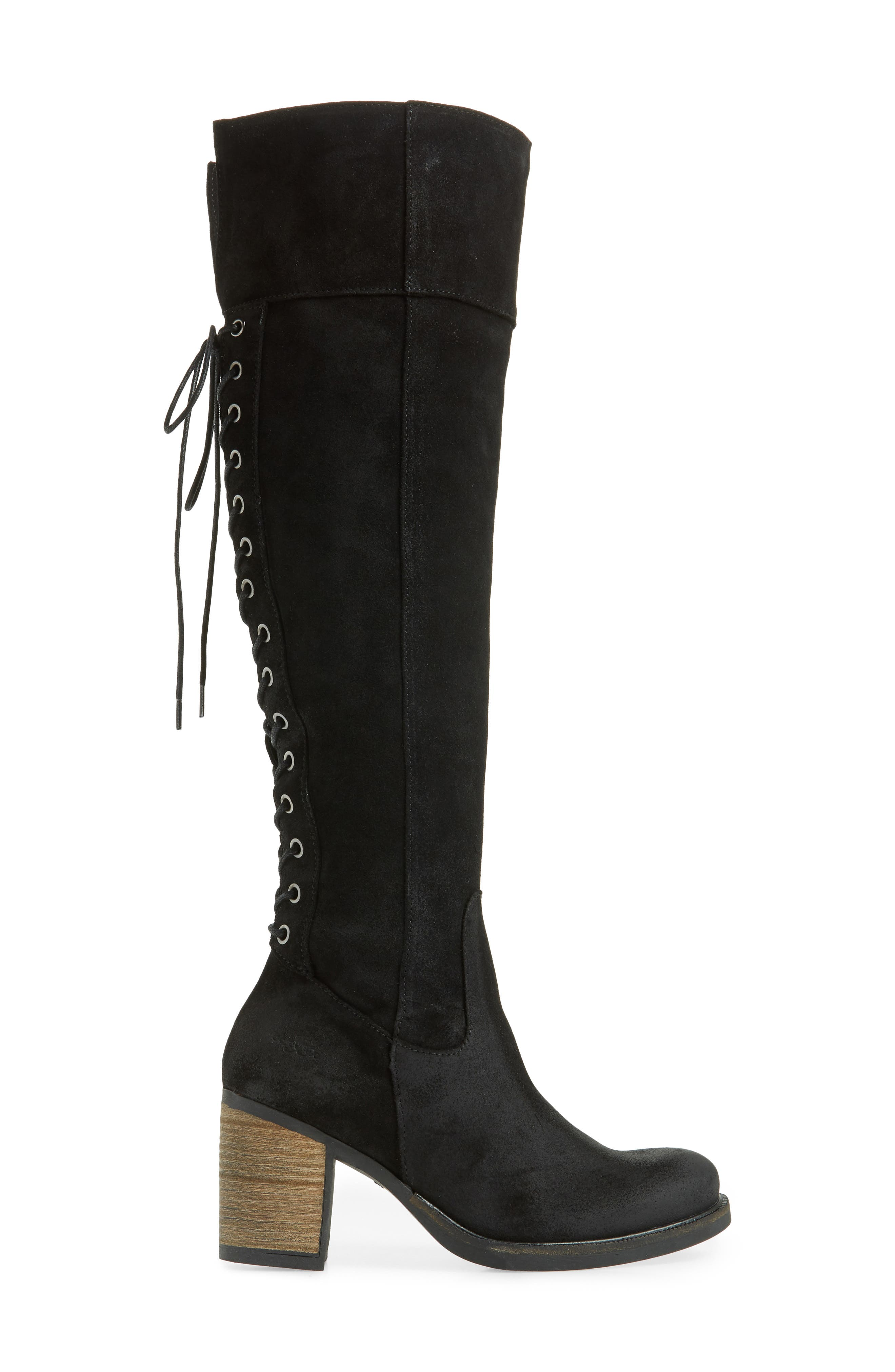 Bond Waterproof Over-the-Knee Boot,                             Alternate thumbnail 3, color,                             BLACK OIL SUEDE