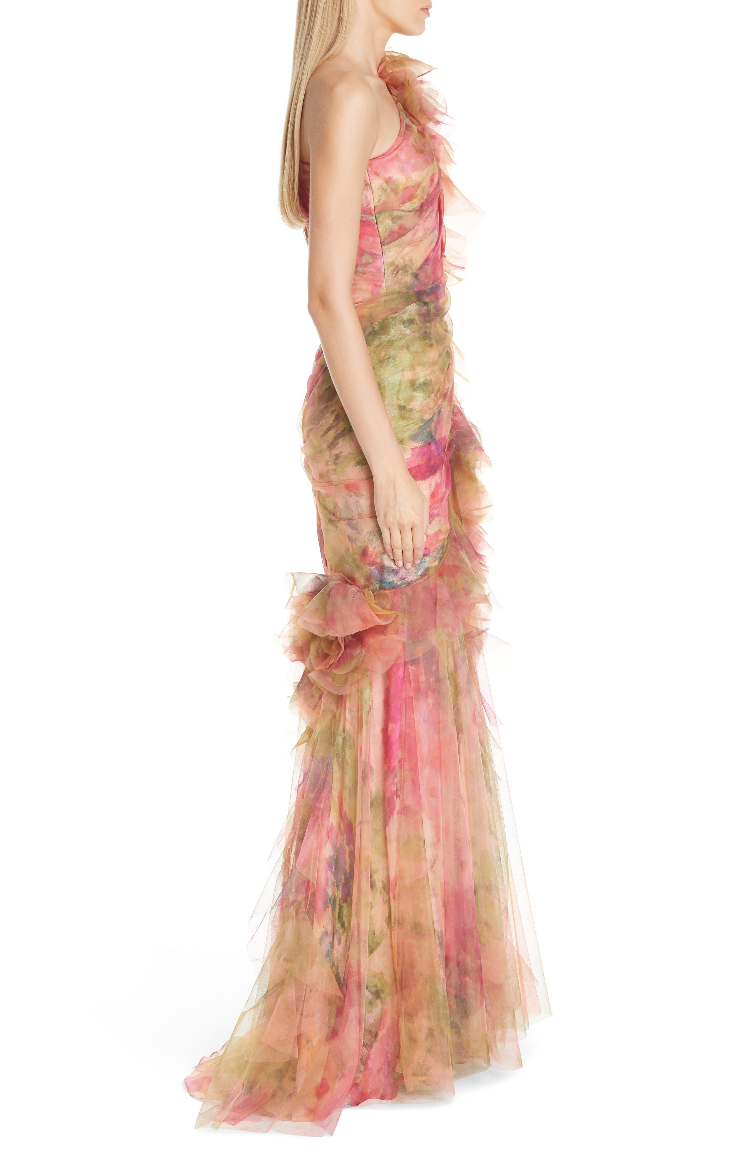 Floral One-Shoulder Silk Evening Dress,                             Alternate thumbnail 3, color,                             CORAL PRINT