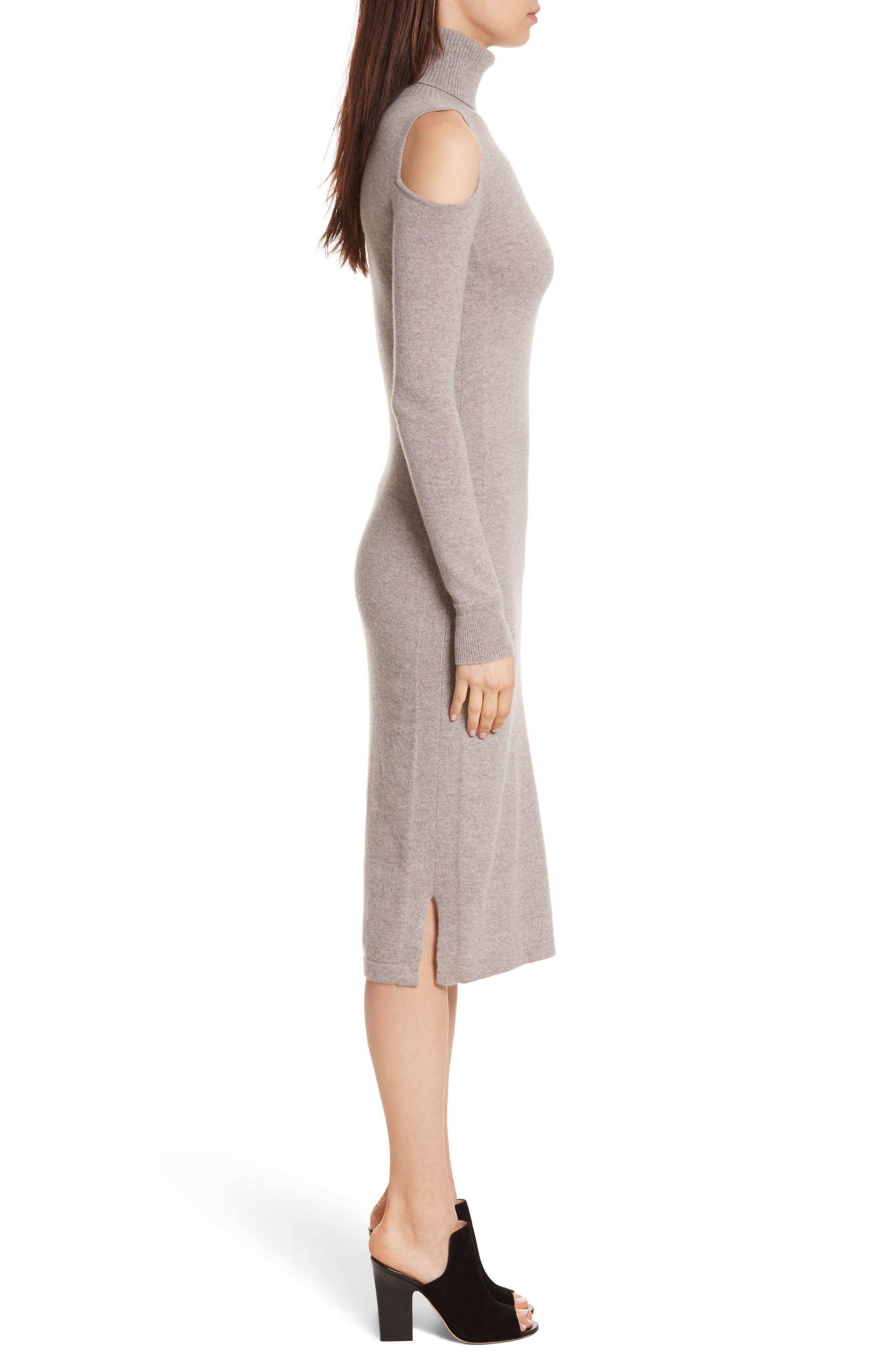 Cashmere Cold Shoulder Turtleneck Sweater Dress,                             Alternate thumbnail 6, color,