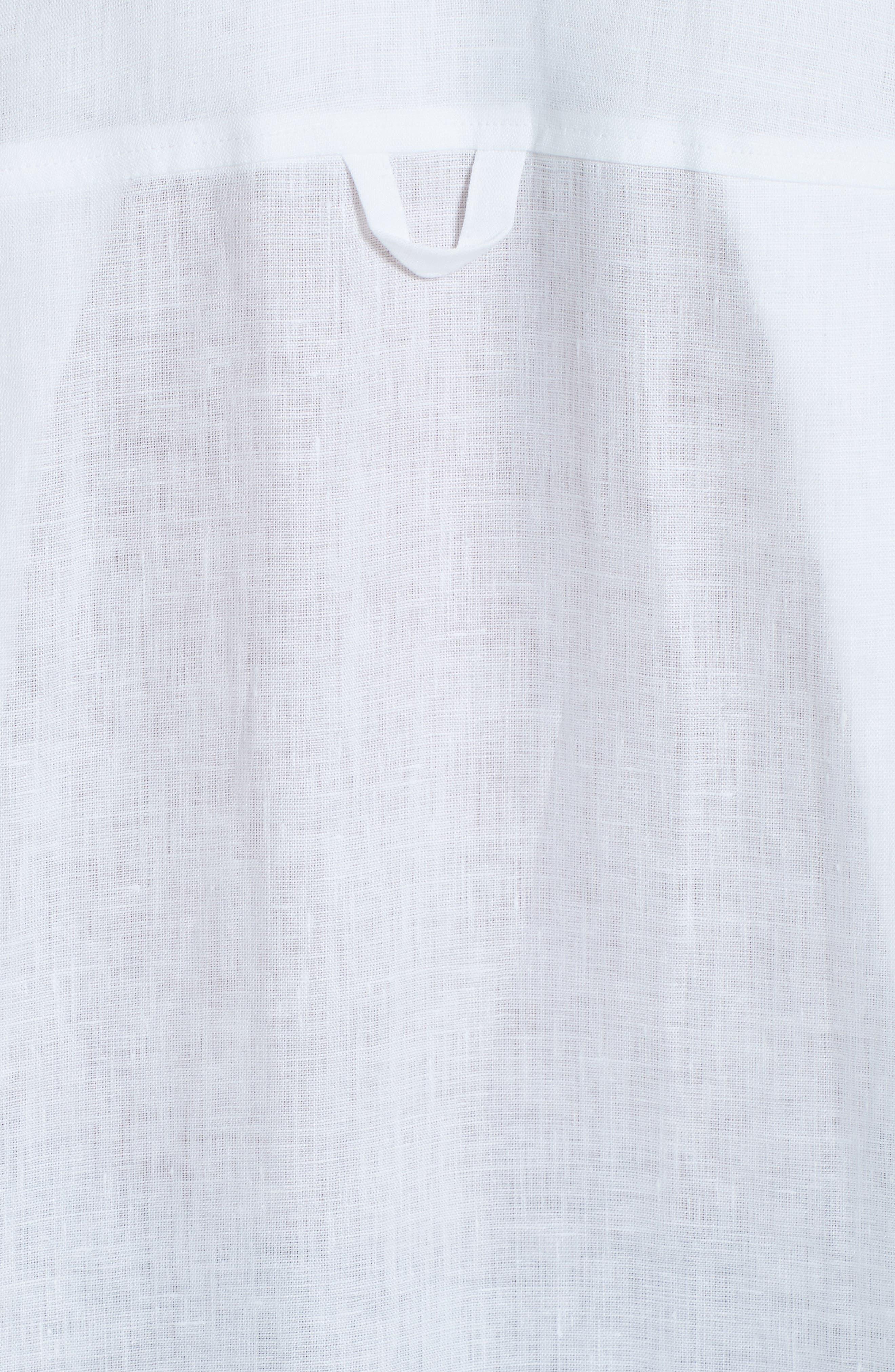 EMPORIO ARMANI,                             Long Sleeve Linen Blouse,                             Alternate thumbnail 5, color,                             BIANCO