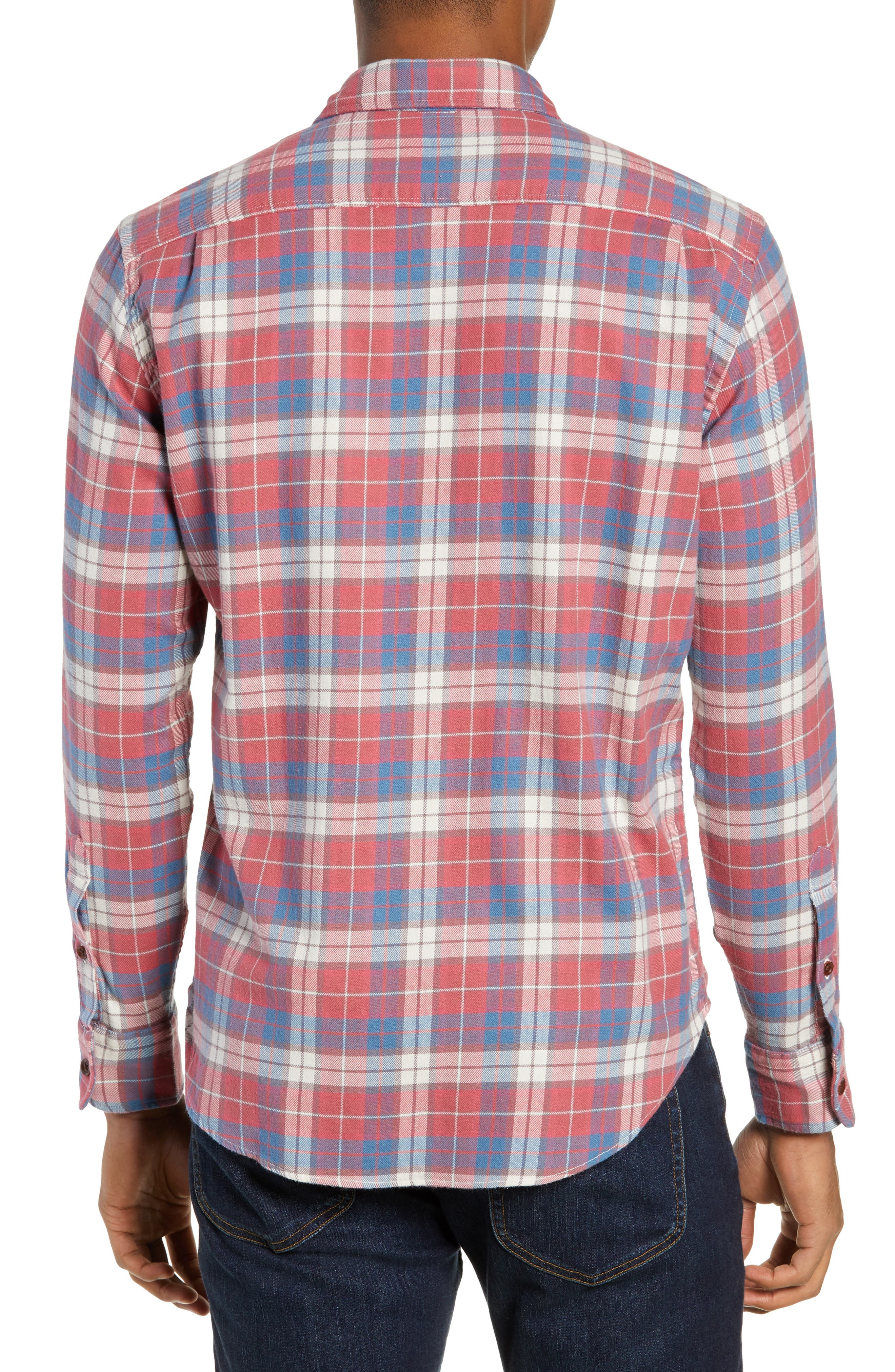 Seaview Stretch Flannel Shirt,                             Alternate thumbnail 3, color,                             RED HORIZON BLUE