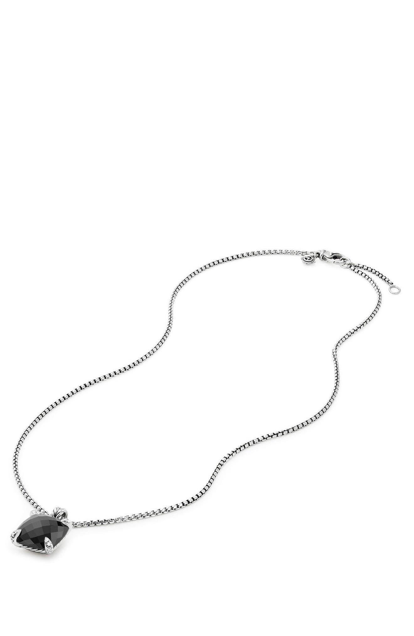 DAVID YURMAN,                             Châtelaine Pendant Necklace with Diamonds,                             Alternate thumbnail 3, color,                             BLACK ONYX?