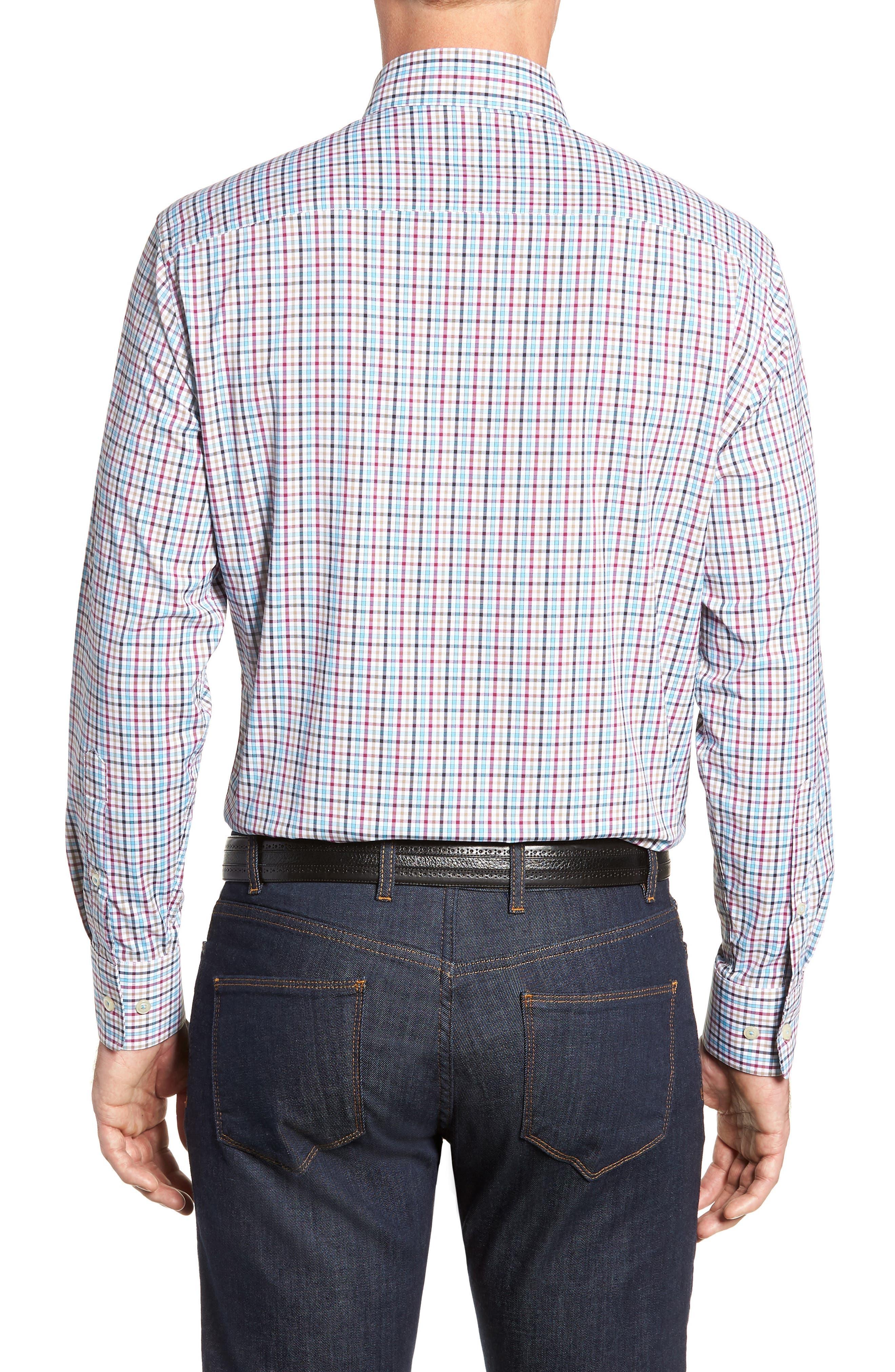 Lawson Regular Fit Tattersall Check Performance Sport Shirt,                             Alternate thumbnail 3, color,                             BLACK