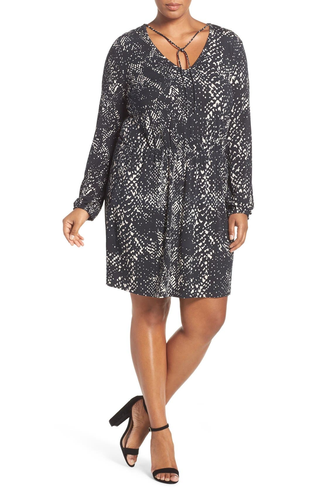 'Robby' Print Jersey V-Neck Dress,                             Alternate thumbnail 7, color,