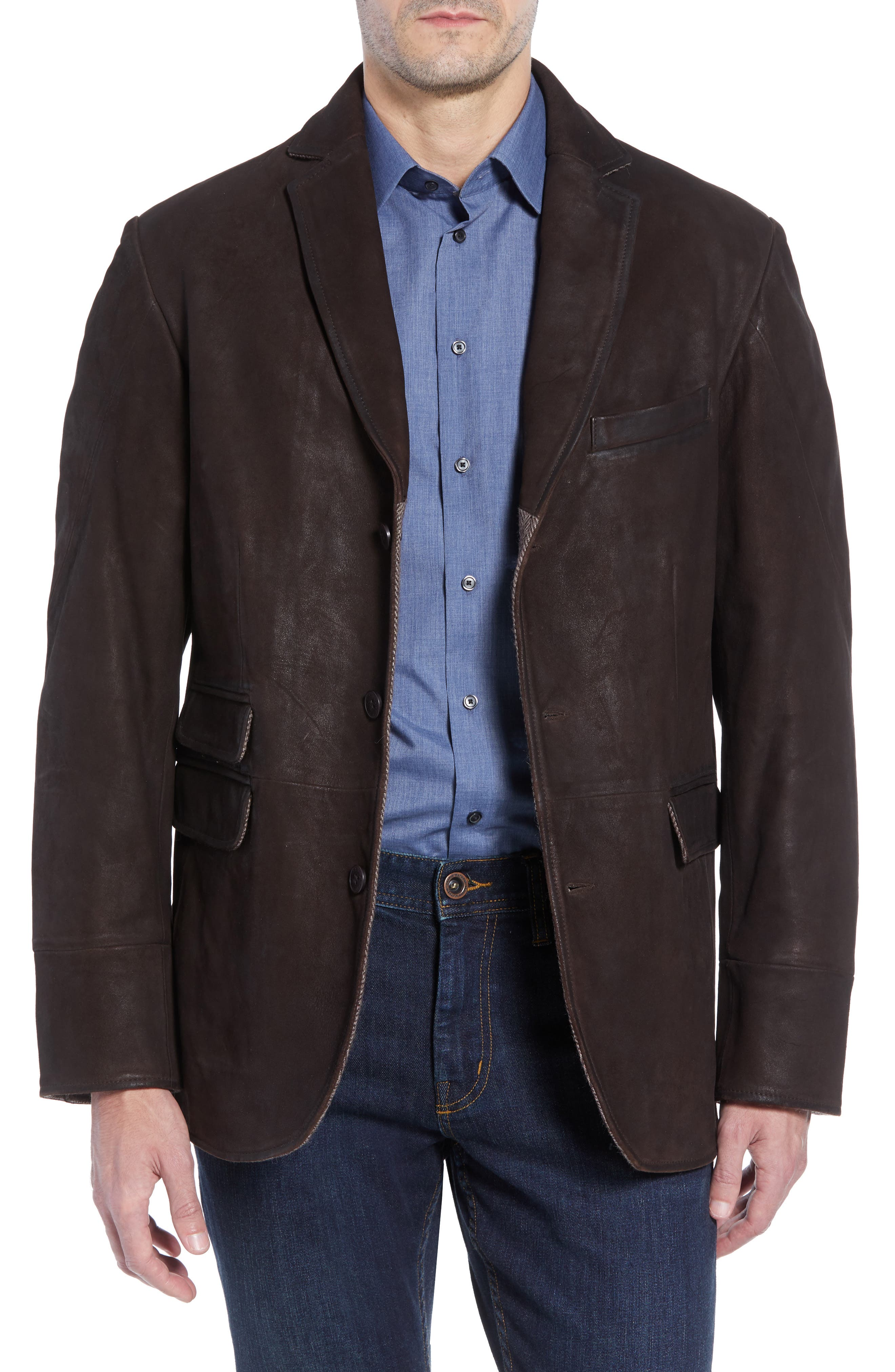 Distressed Leather Hybrid Coat,                             Alternate thumbnail 5, color,                             CHOCOLATE BROWN