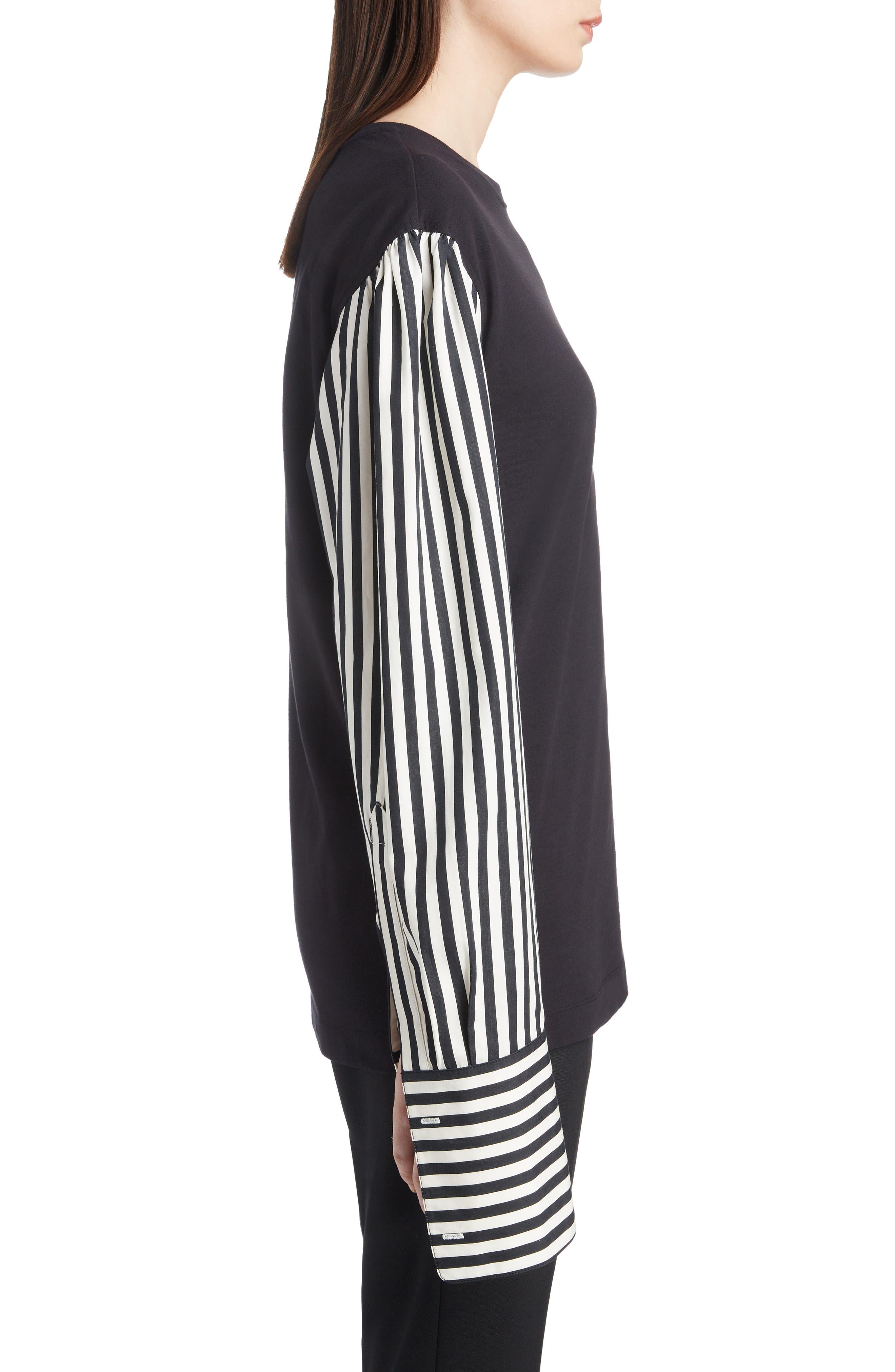 Poplin Sleeve Knit Top,                             Alternate thumbnail 3, color,                             BLACK/A