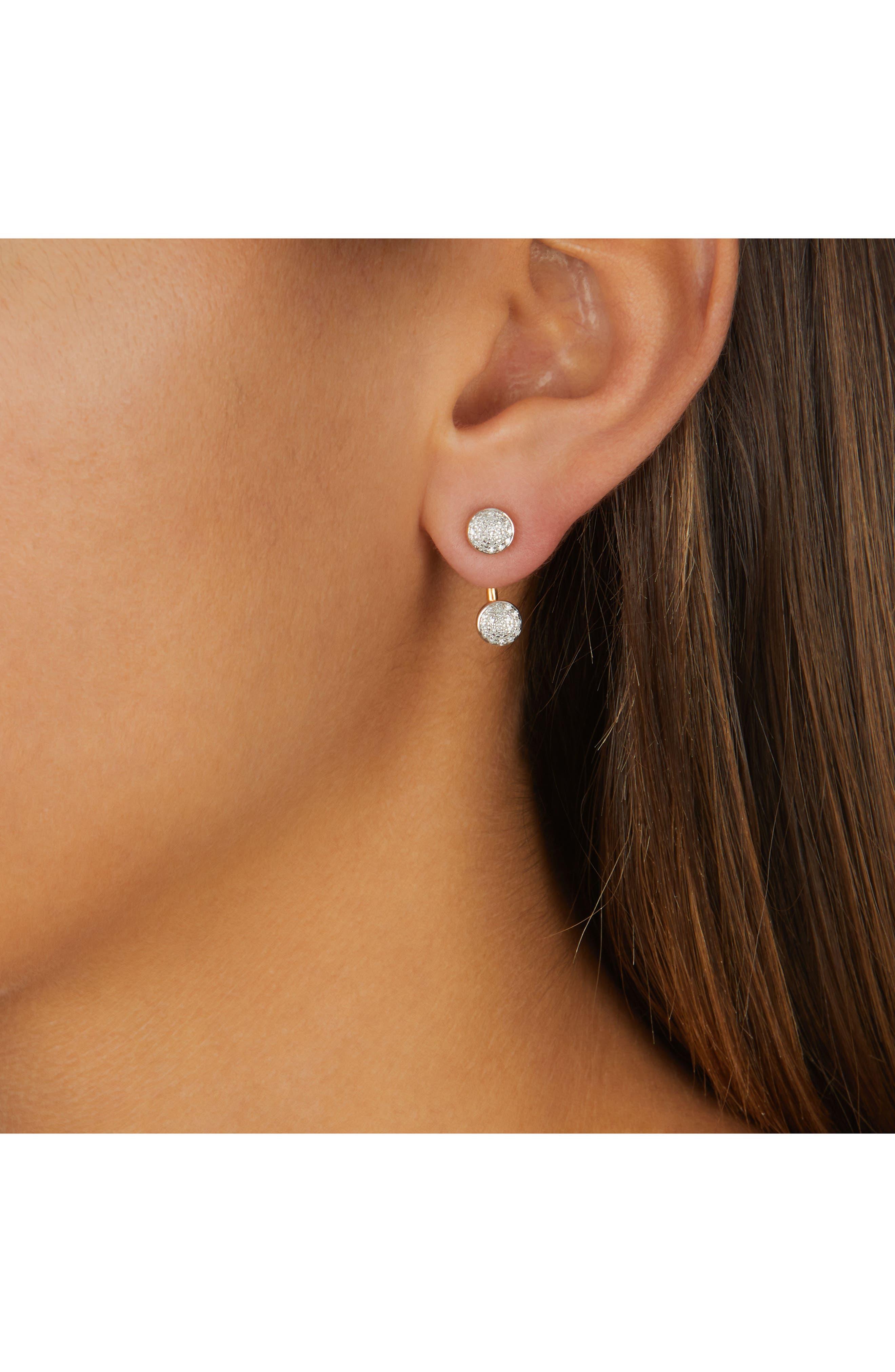 Fiji Diamond Button Ear Jackets,                             Alternate thumbnail 2, color,                             GOLD