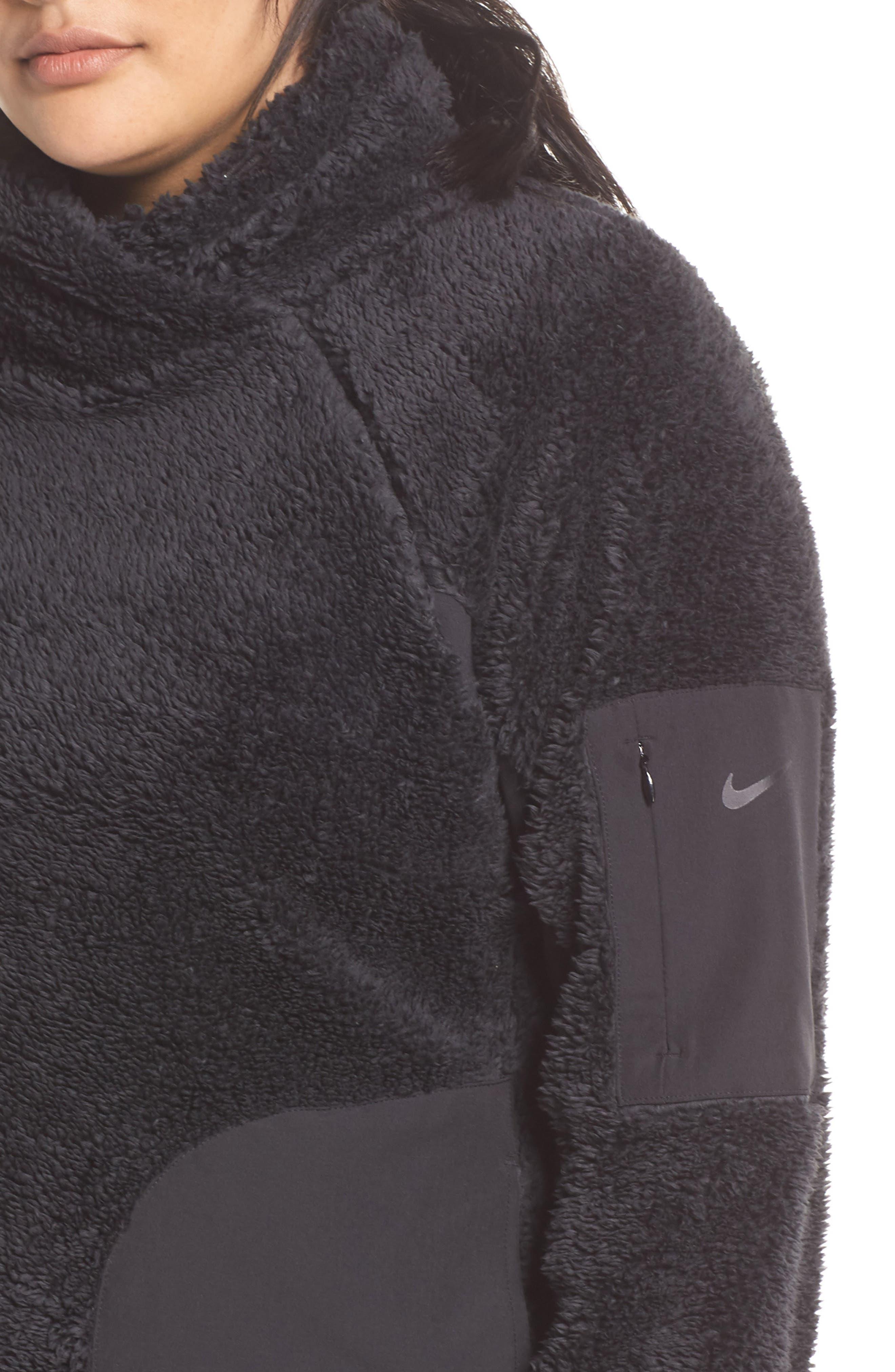 NIKE,                             Faux Shearling Pullover,                             Alternate thumbnail 5, color,                             BLACK/ BLACK