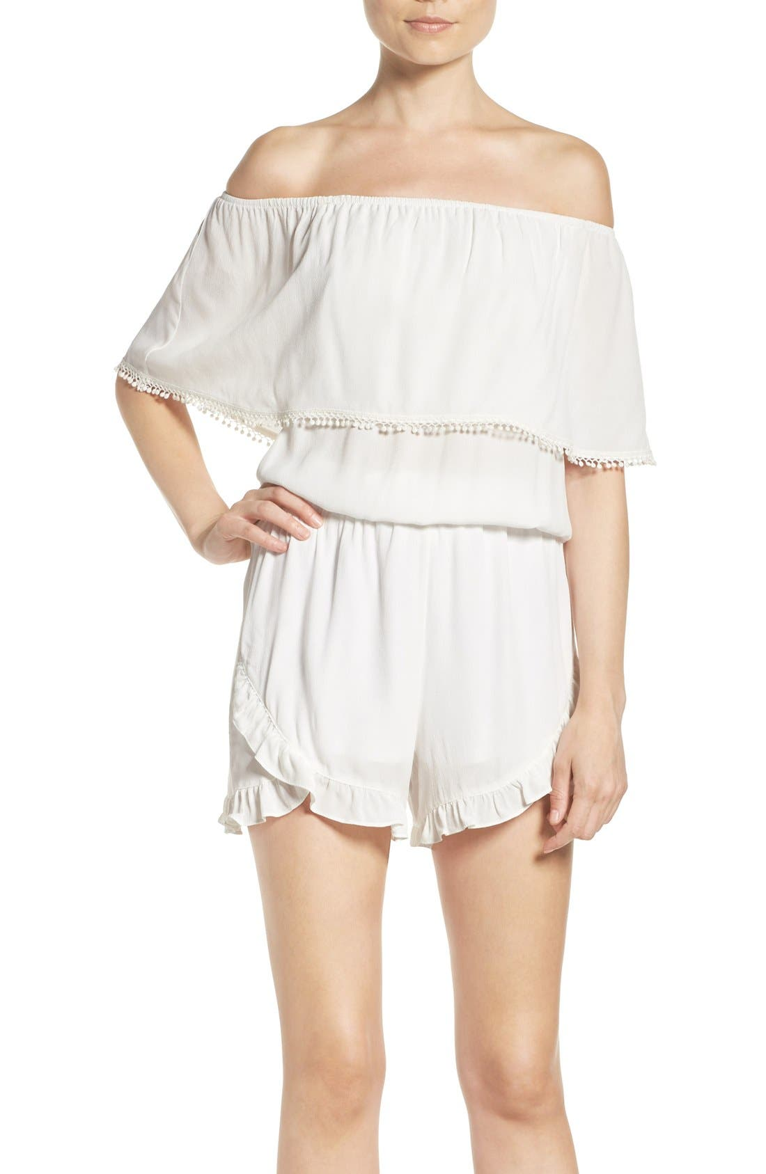 Ruffle Romper,                         Main,                         color, 100