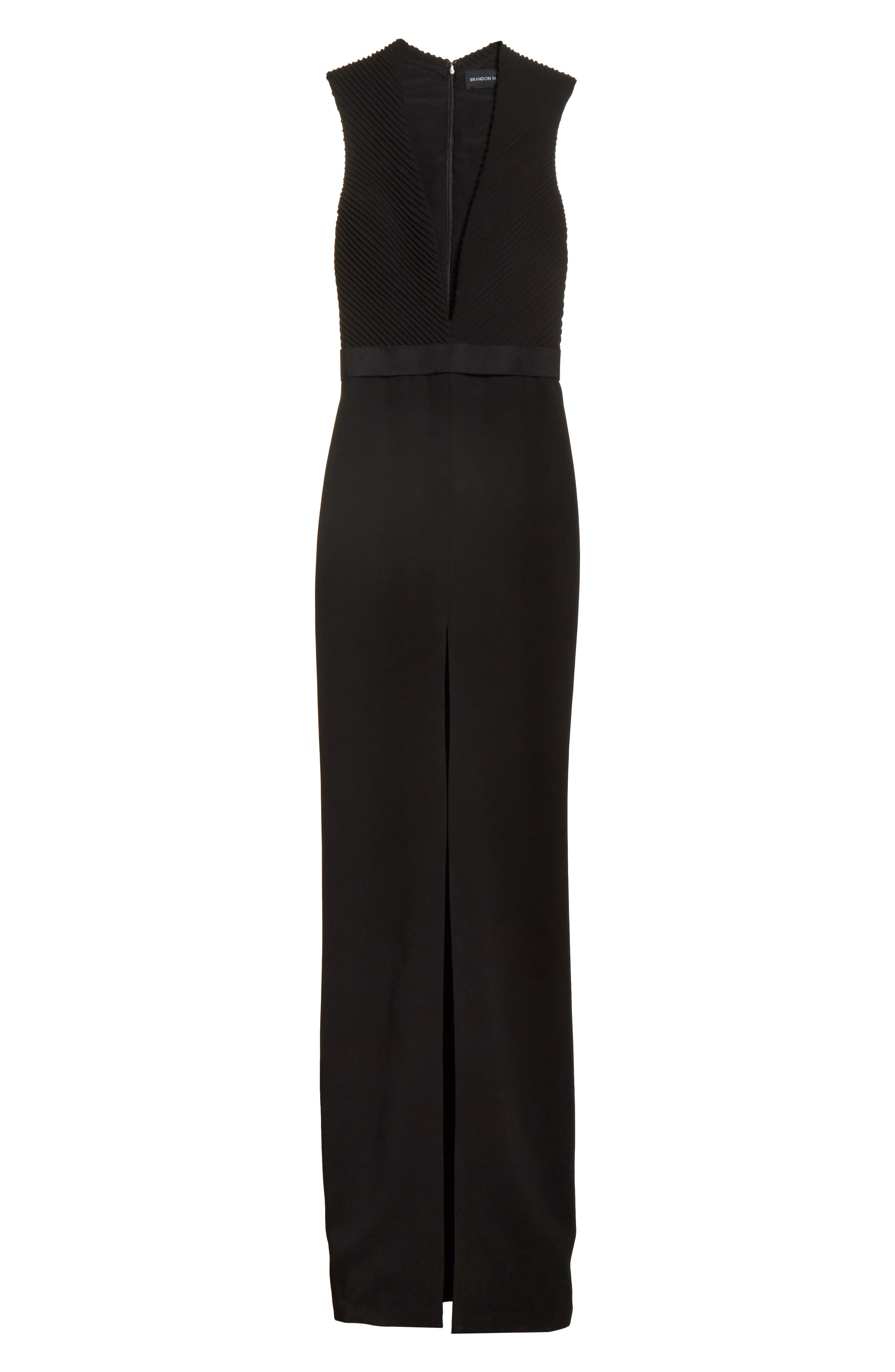 Plunging Silk Crepe Gown,                             Alternate thumbnail 6, color,                             001