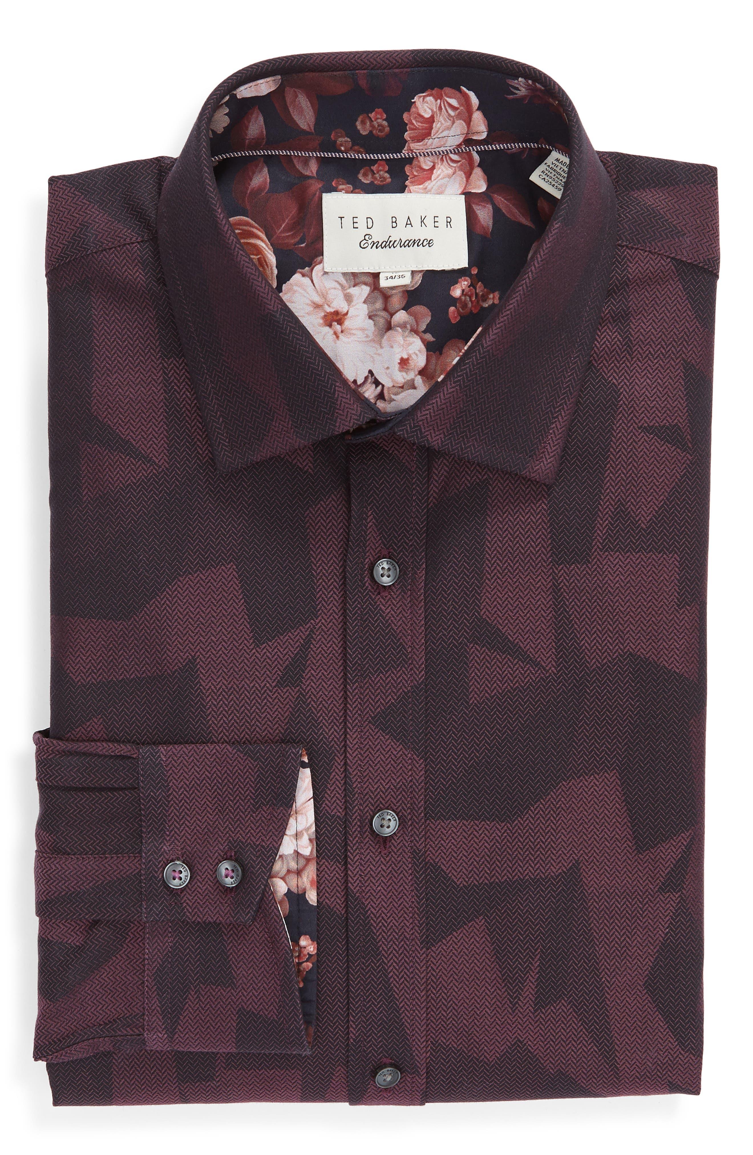 Slissum Slim Fit Print Dress Shirt,                             Alternate thumbnail 5, color,                             DARK RED
