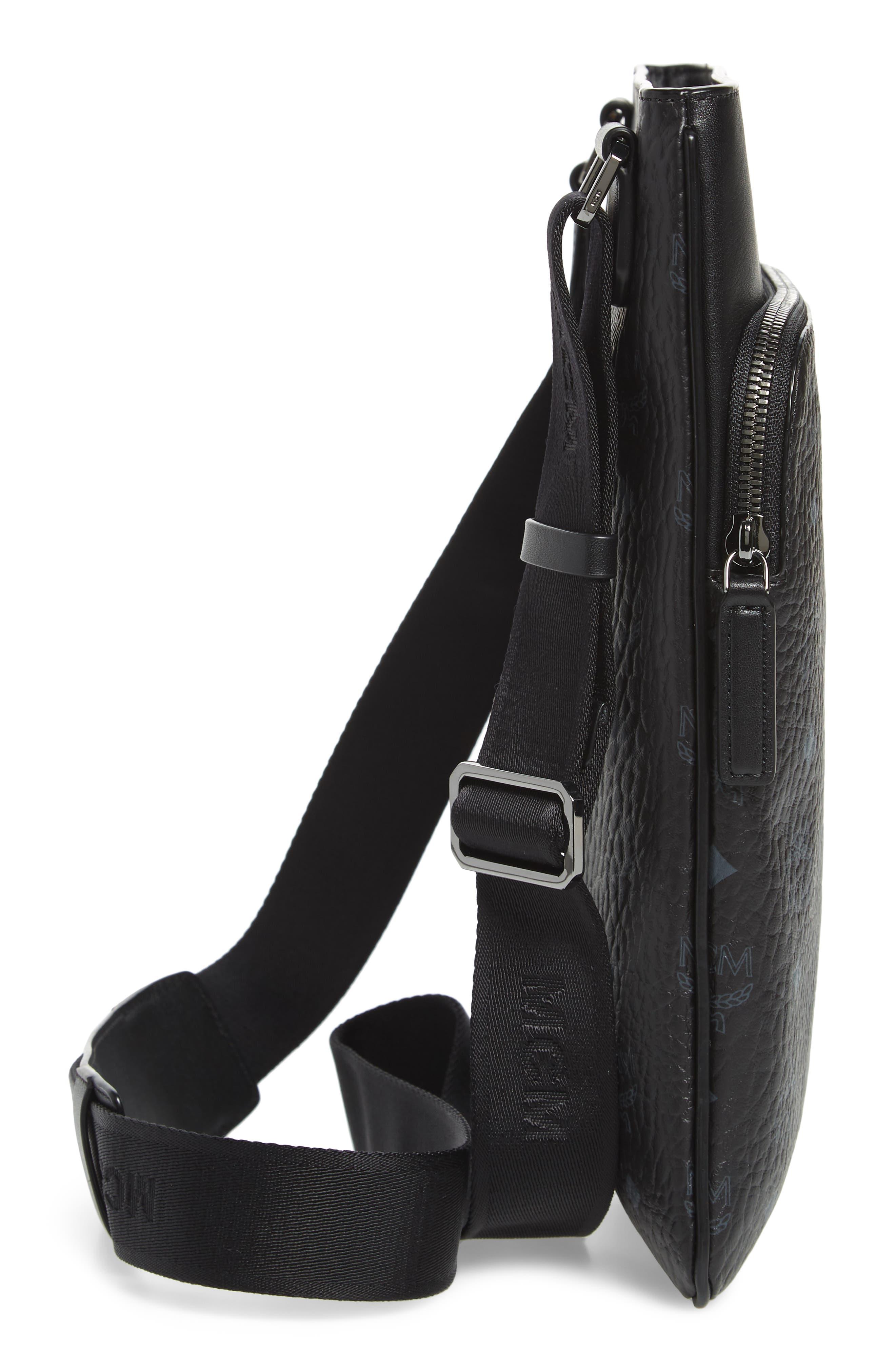 MCM,                             Ottomar Visetos Faux Leather Crossbody Bag,                             Alternate thumbnail 5, color,                             001