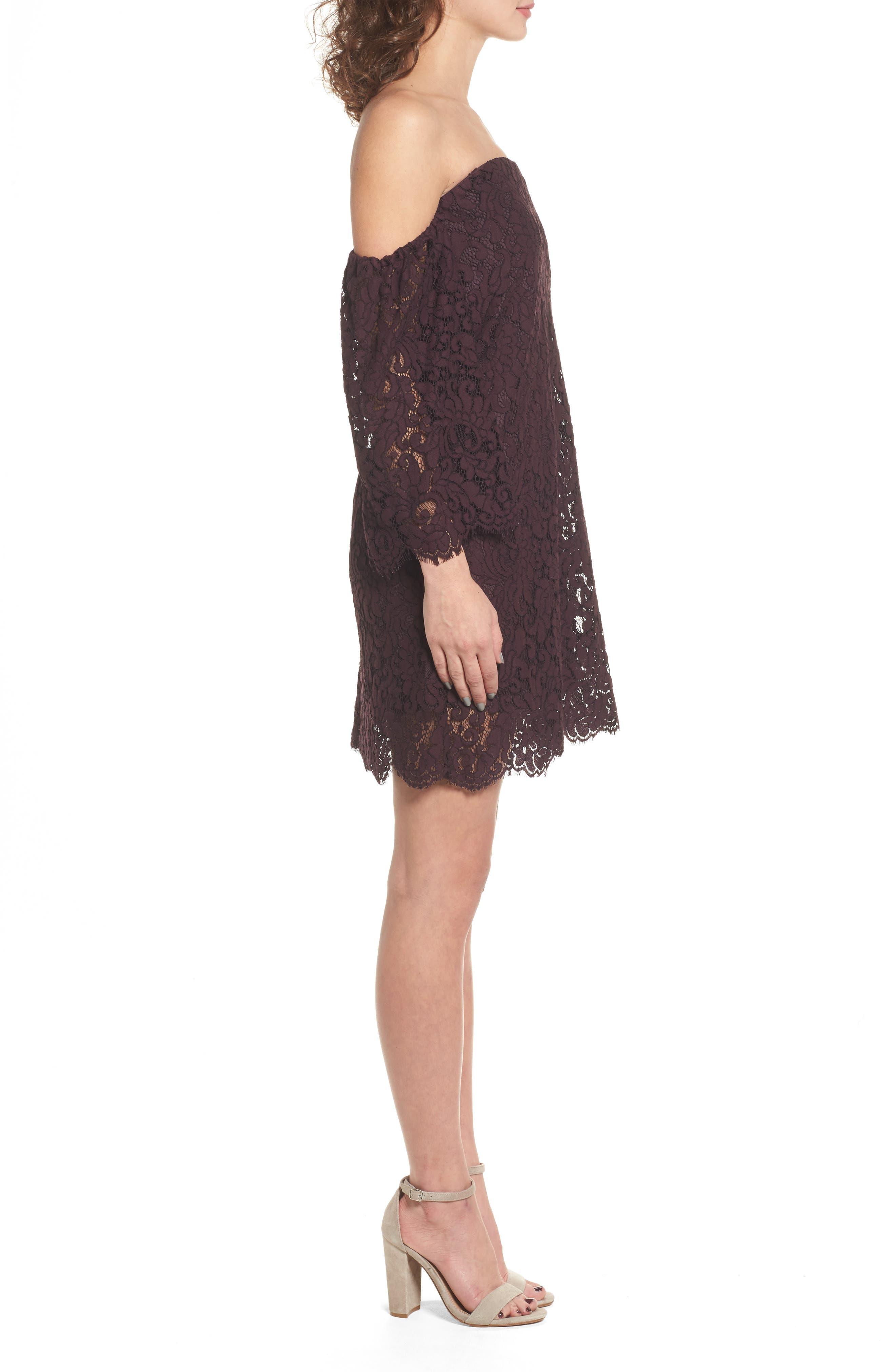 Adalira Off the Shoulder Lace Dress,                             Alternate thumbnail 3, color,                             930