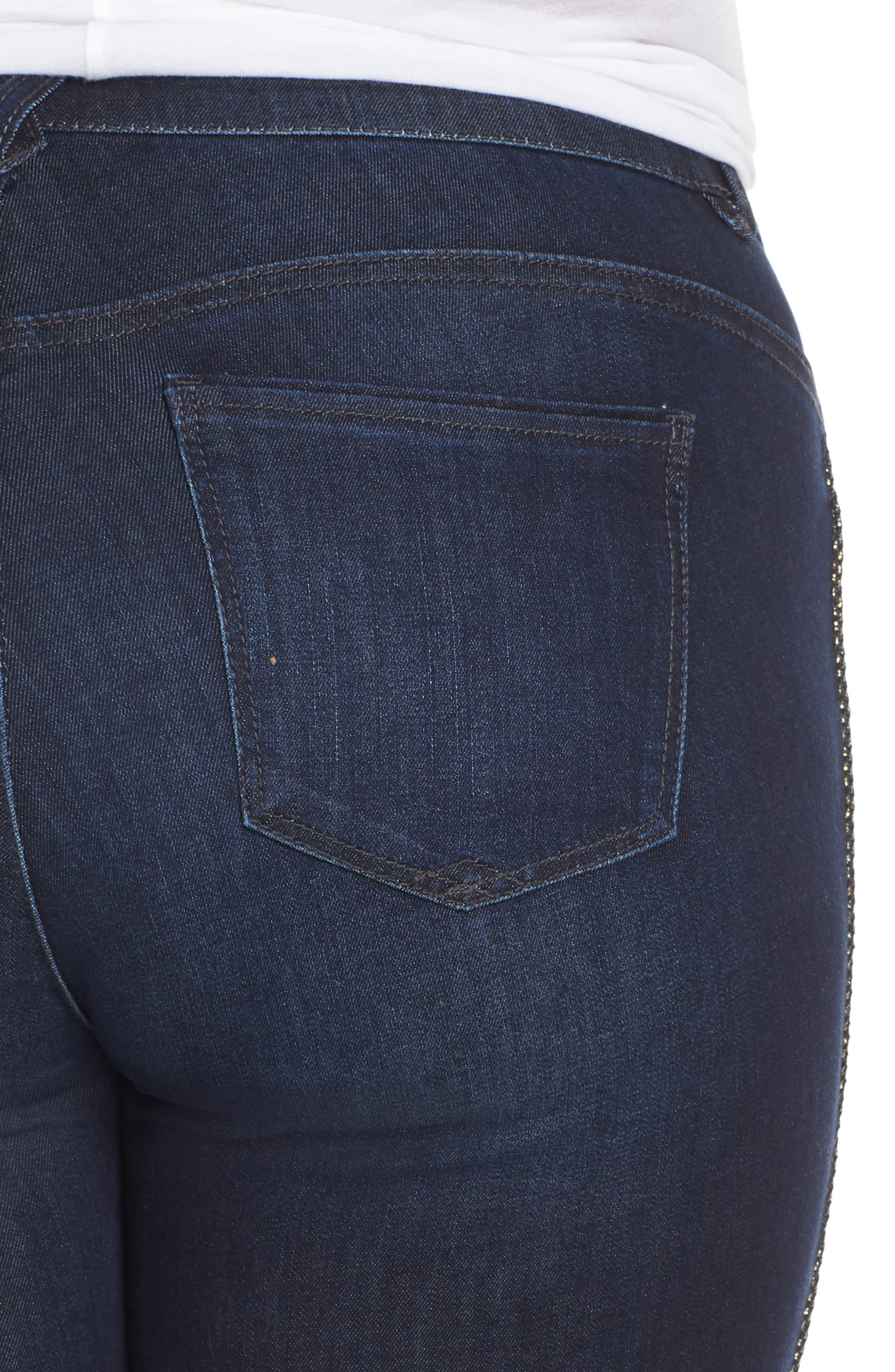 Ab-Solution Side Trim Ankle Jeans,                             Alternate thumbnail 4, color,                             INDIGO