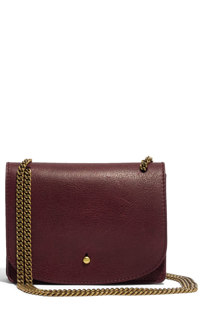Leather Crossbody Wallet,                         Main,                         color, DARK CABERNET