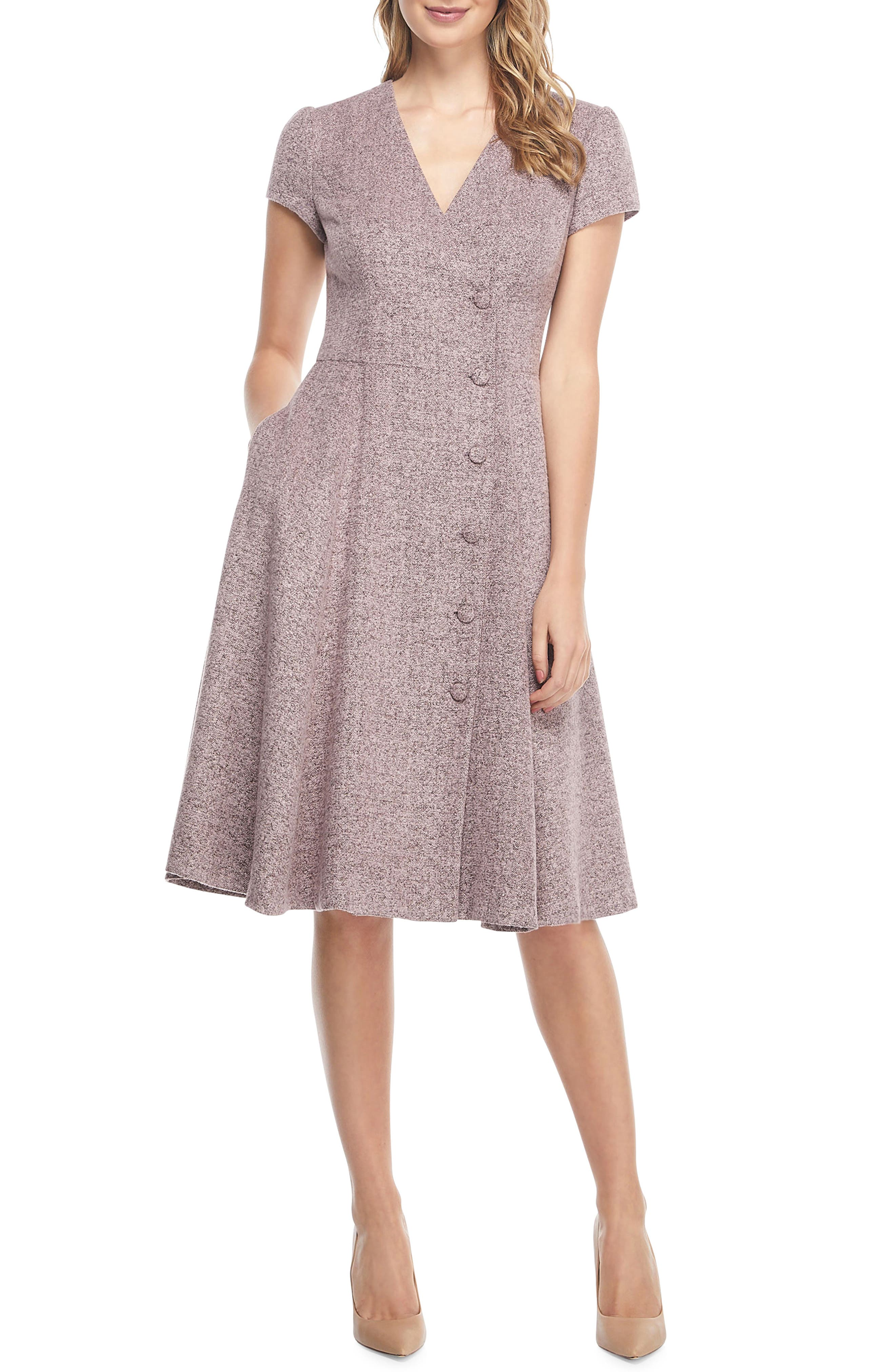 Agatha Dainty Tweed Dress,                             Main thumbnail 1, color,                             650