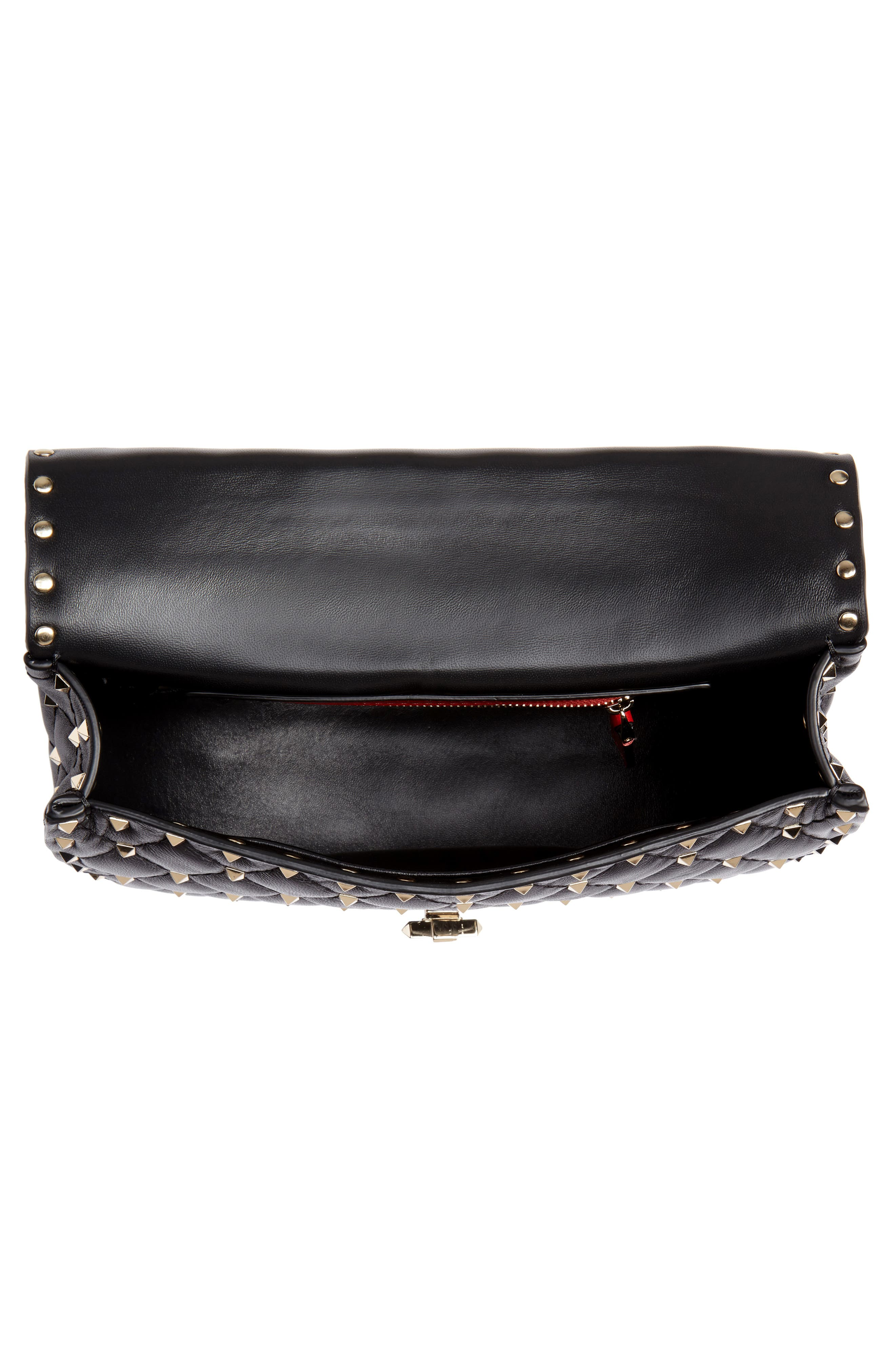 Rockstud Spike Leather Saddle Bag,                             Alternate thumbnail 4, color,                             NERO