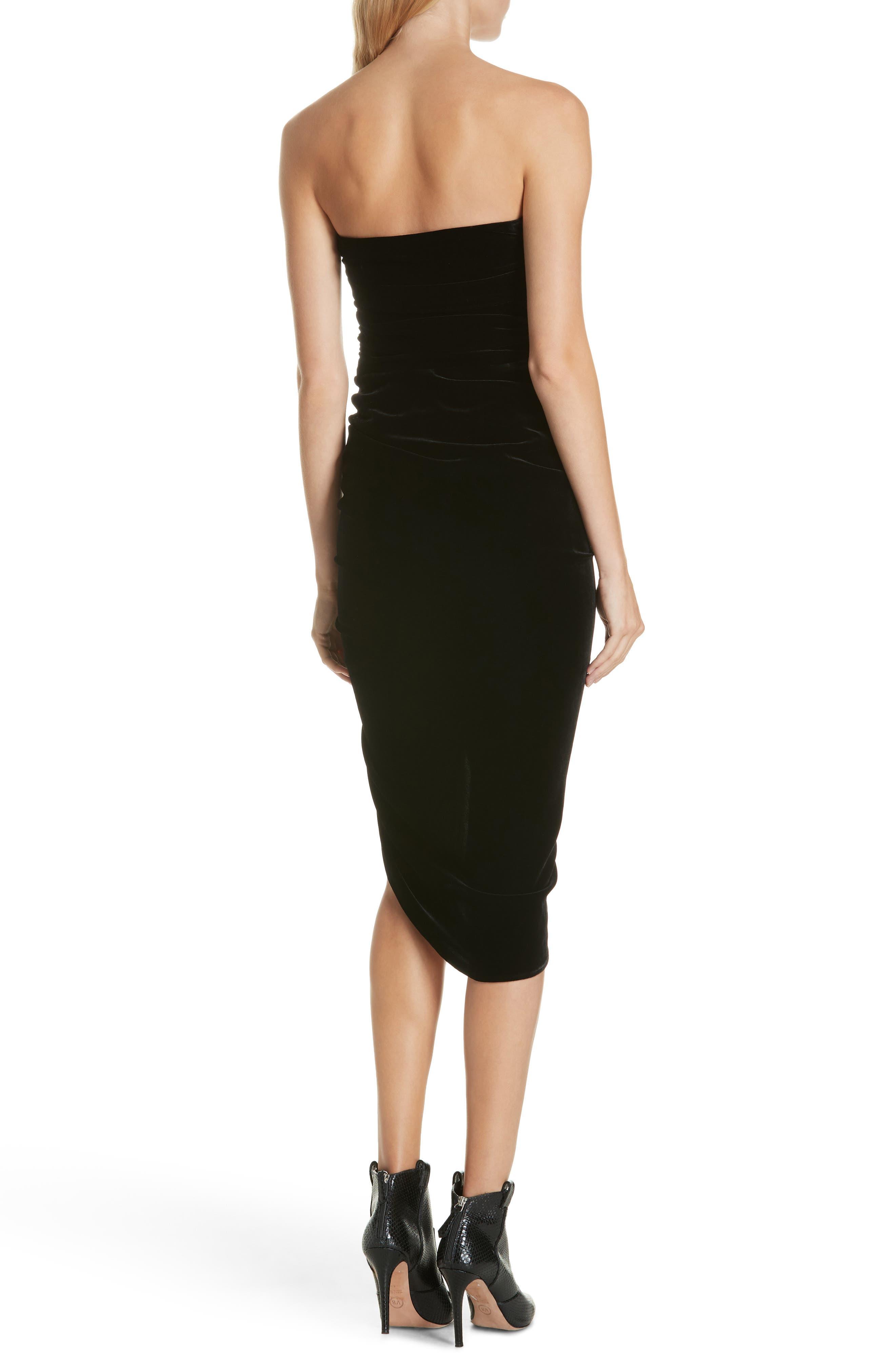 Palo Strapless Velvet Dress,                             Alternate thumbnail 2, color,                             BLACK