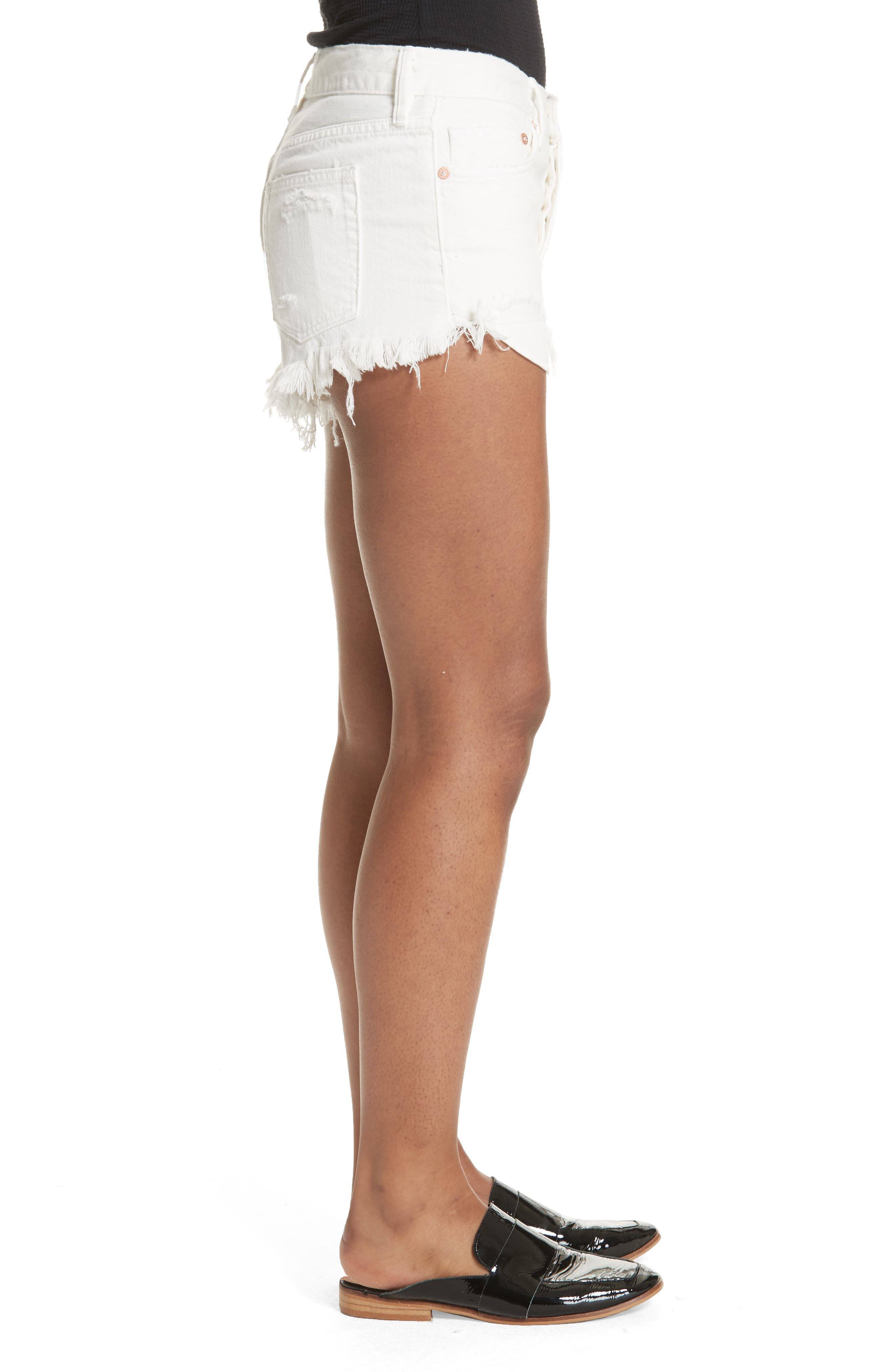 We the Free by Free People Loving Good Vibrations Cutoff Denim Shorts,                             Alternate thumbnail 3, color,                             WHITE