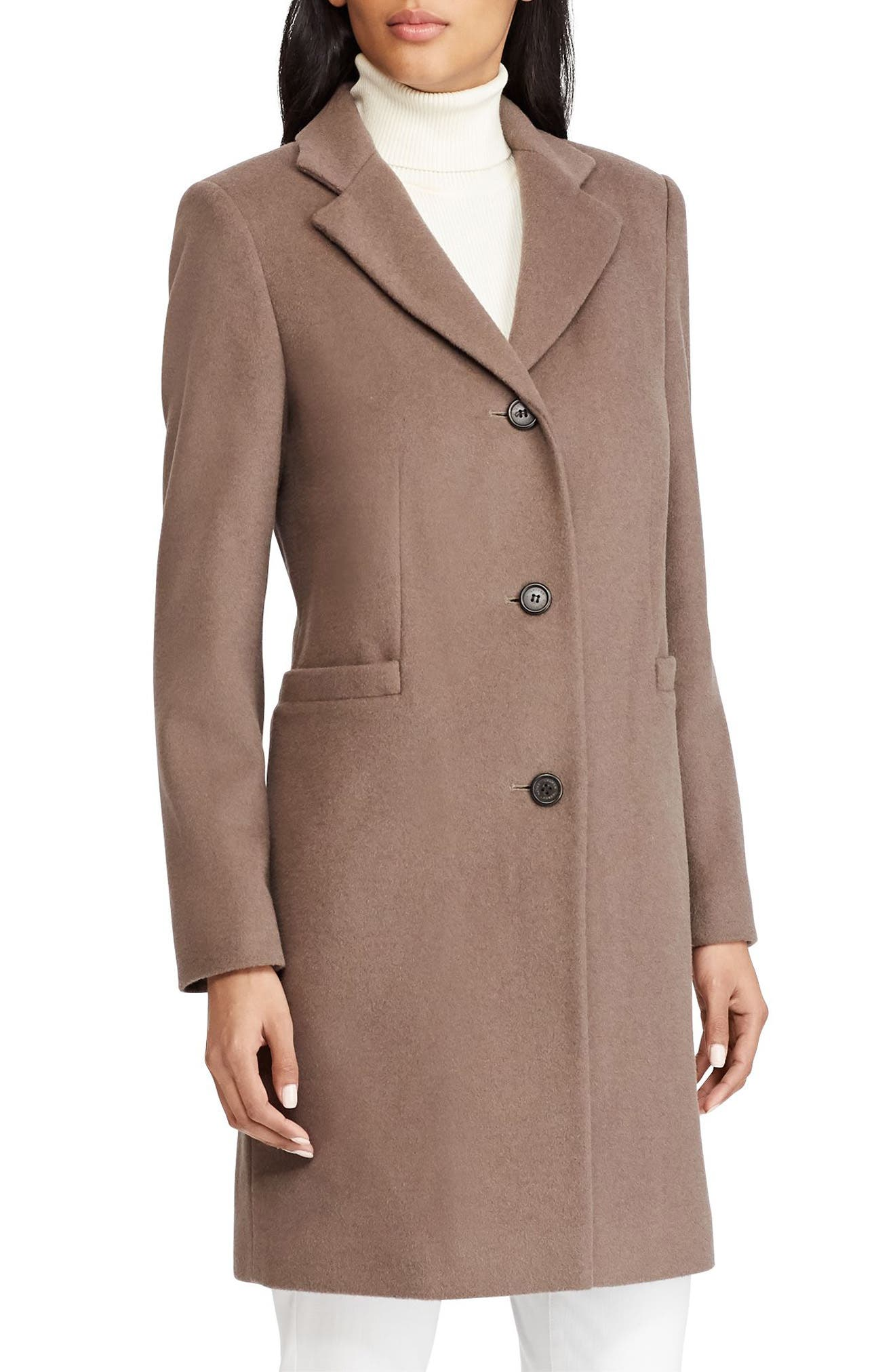 Wool Blend Reefer Coat,                         Main,                         color, PEBBLE