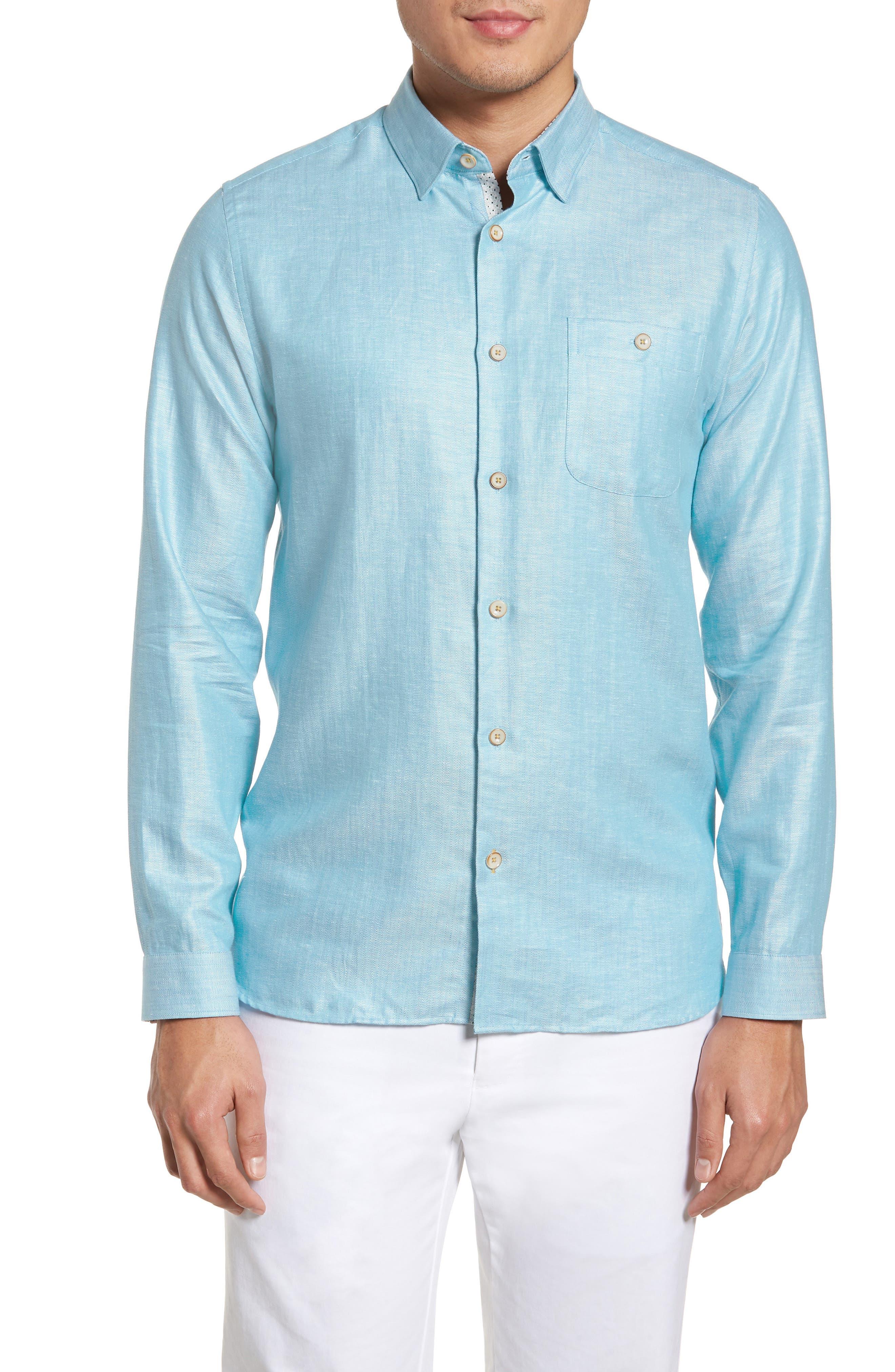 Linlins Herringbone Cotton & Linen Sport Shirt,                             Main thumbnail 4, color,