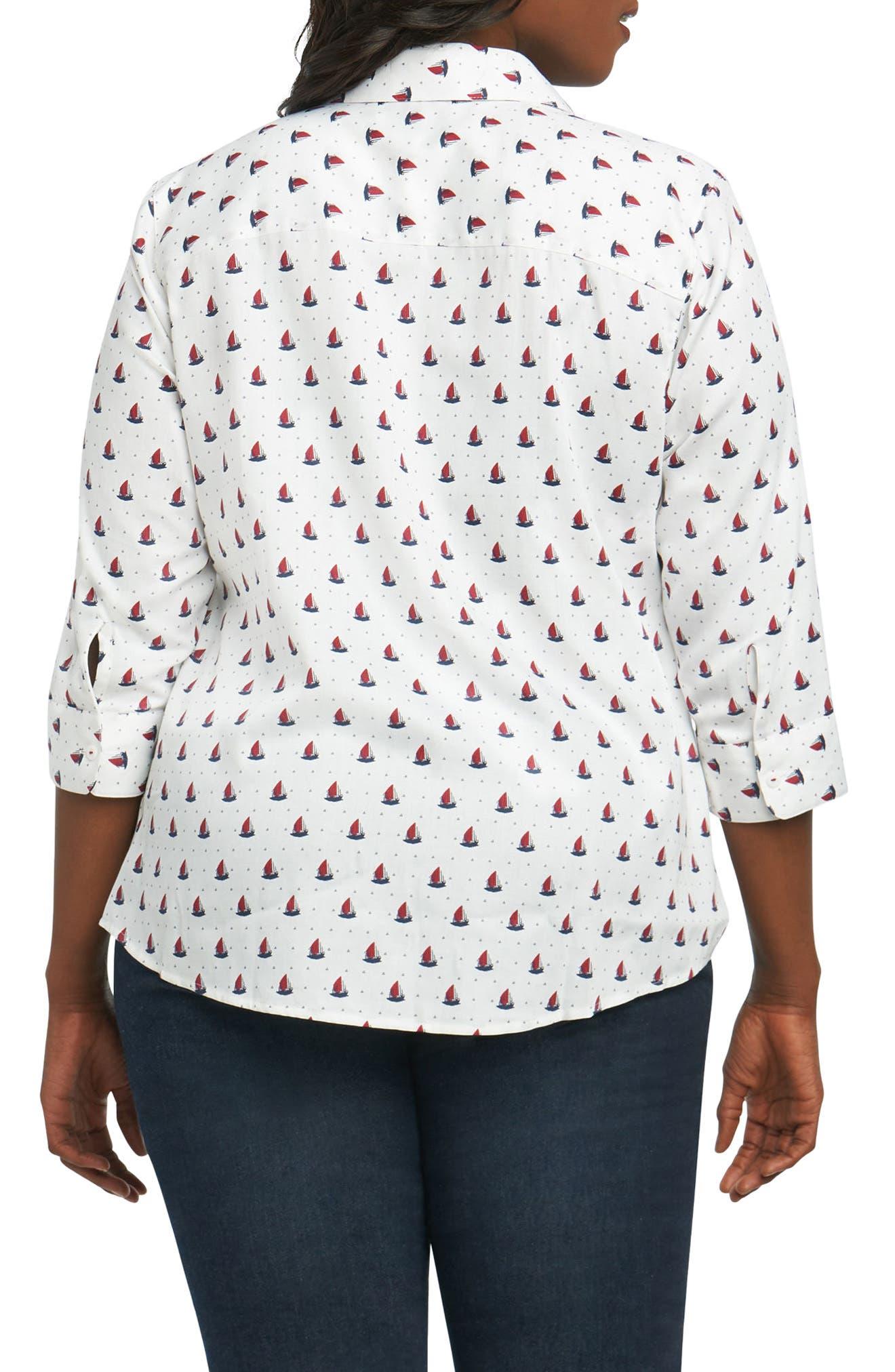 Ava Sailboat Print Non Iron Cotton Shirt,                             Alternate thumbnail 2, color,                             415