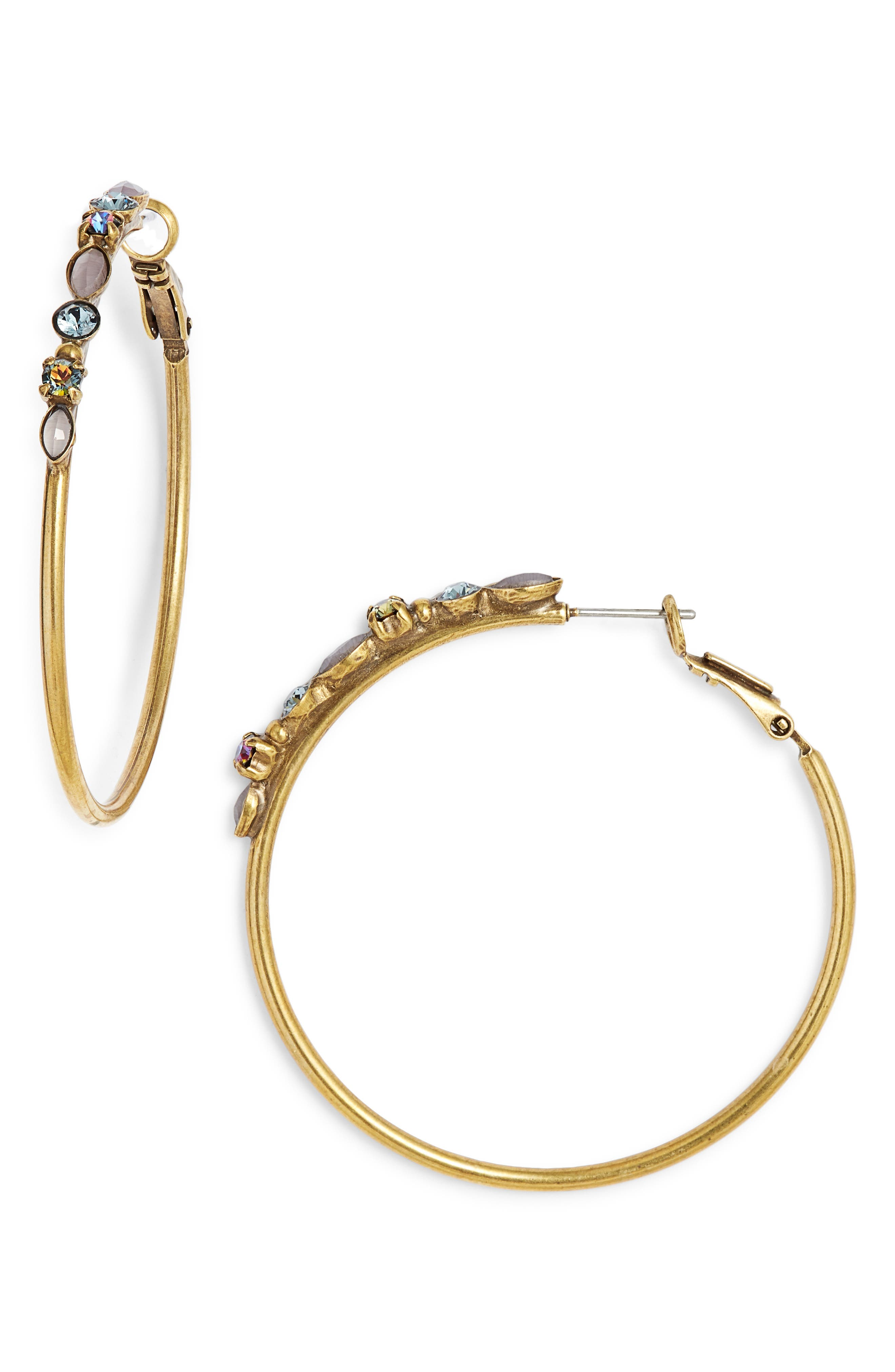 SORRELLI Large Mixed Media Hoop Earrings in Multi/ Gold