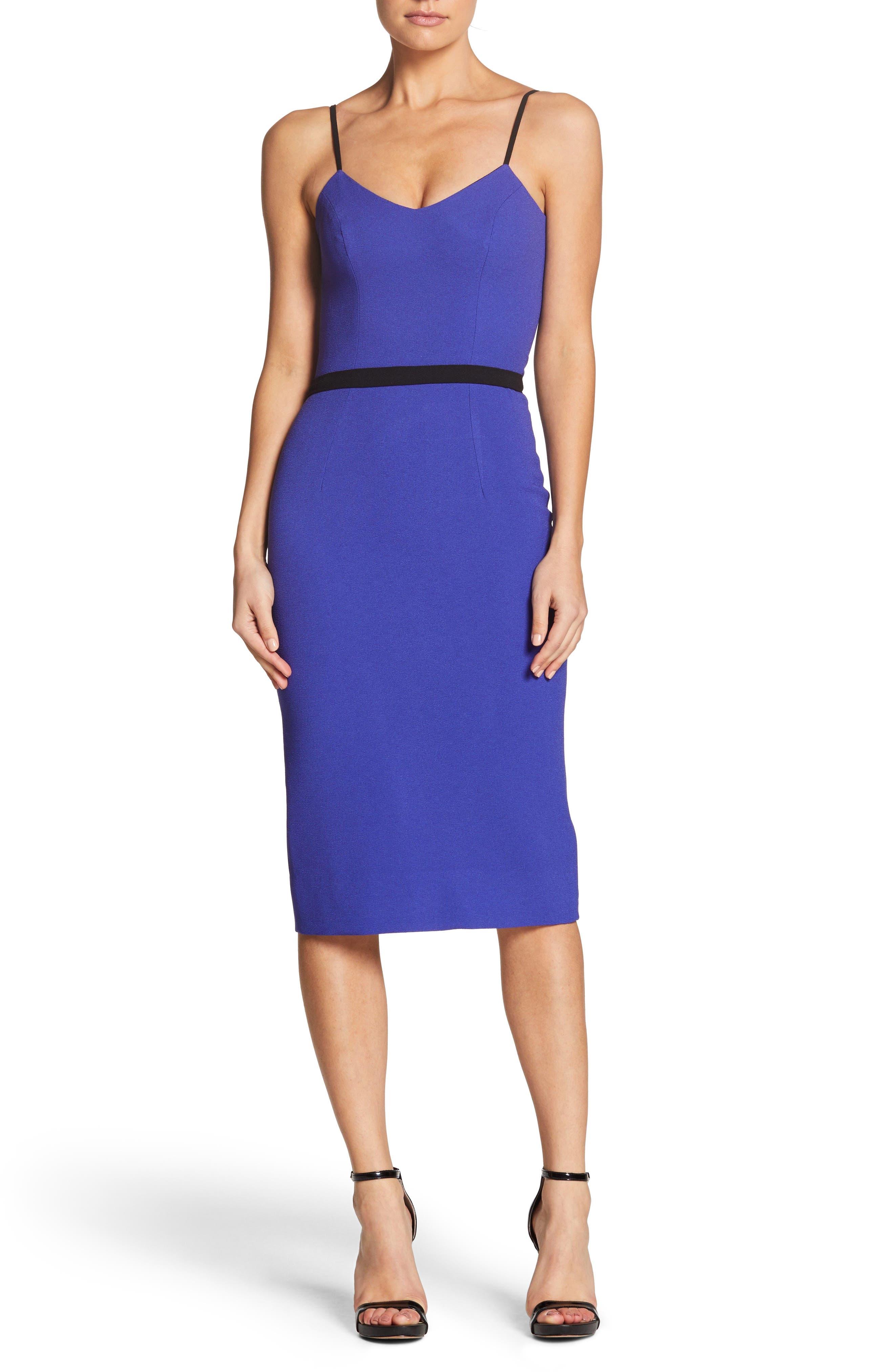 Emma Spaghetti Strap Body-Con Dress,                         Main,                         color, BLUE/ VIOLET