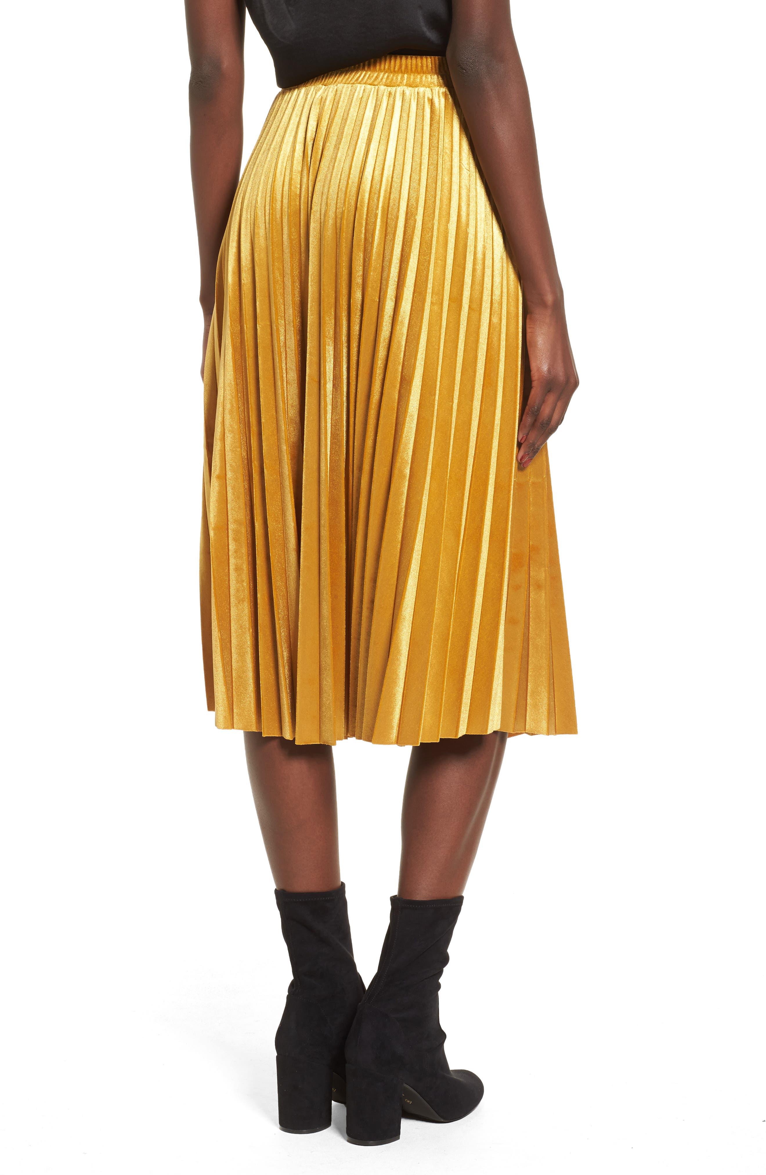 Pleated Velvet Skirt,                             Alternate thumbnail 2, color,