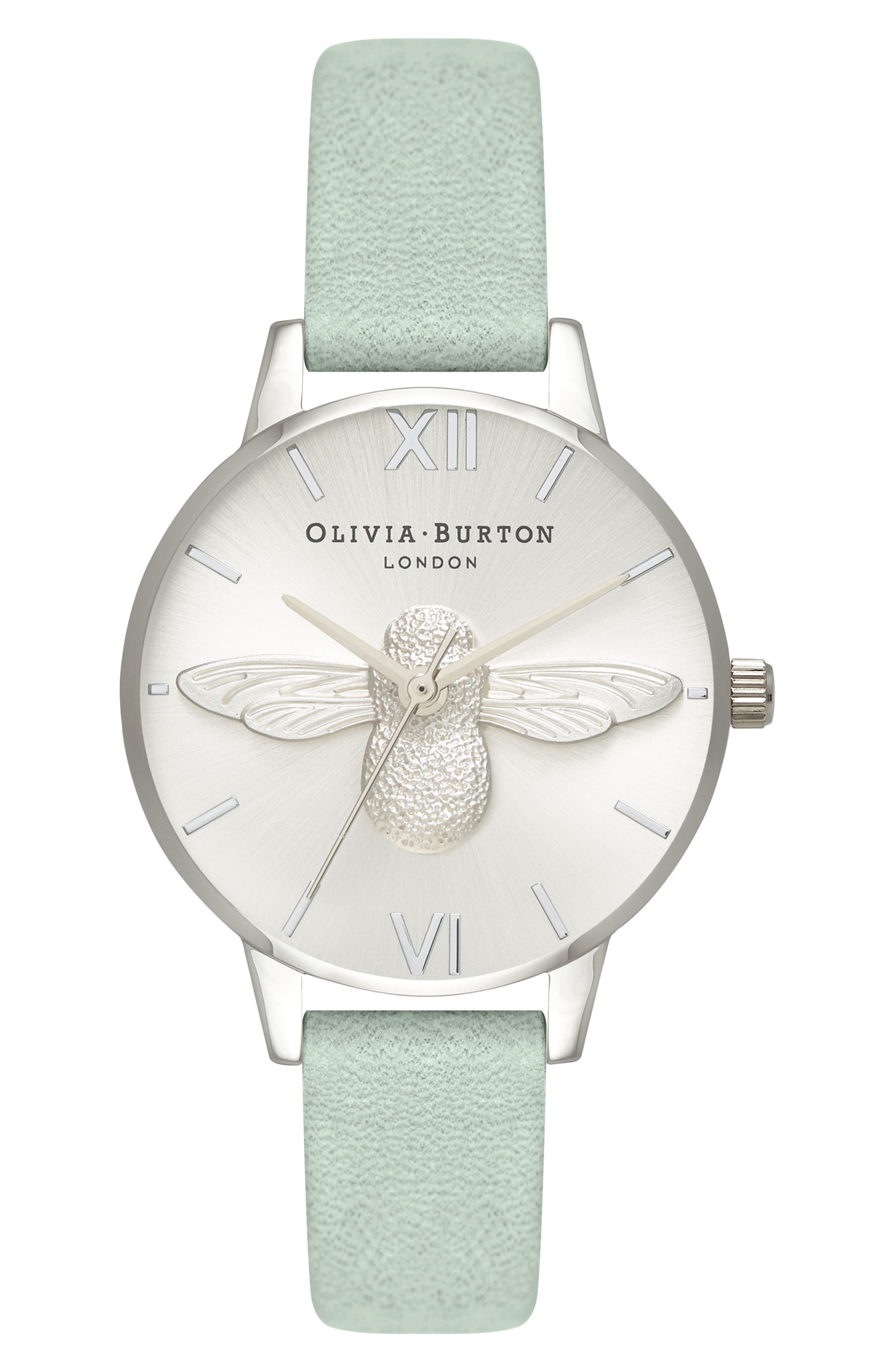 3D Bee Leather Strap Watch, 30mm,                         Main,                         color, SAGE/ BEE/ SILVER