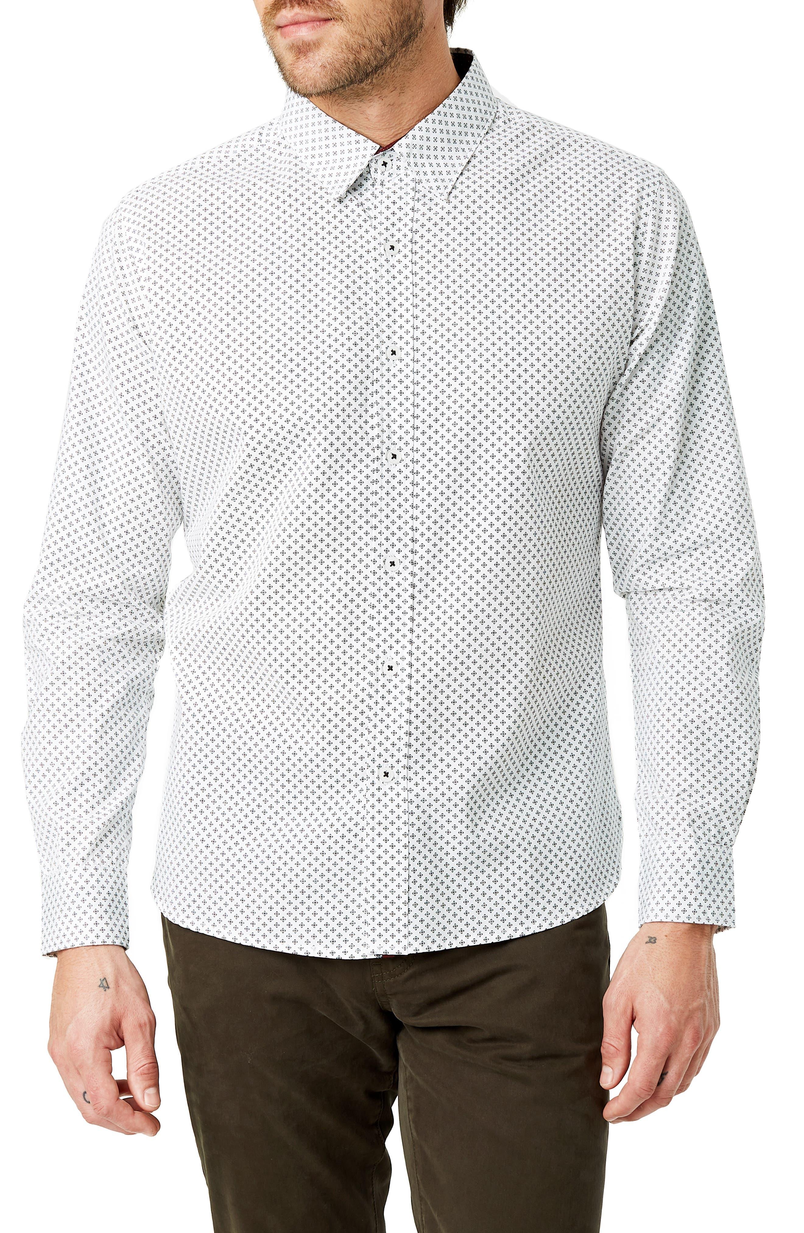 Radio Mix Slim Fit Sport Shirt,                         Main,                         color, WHITE