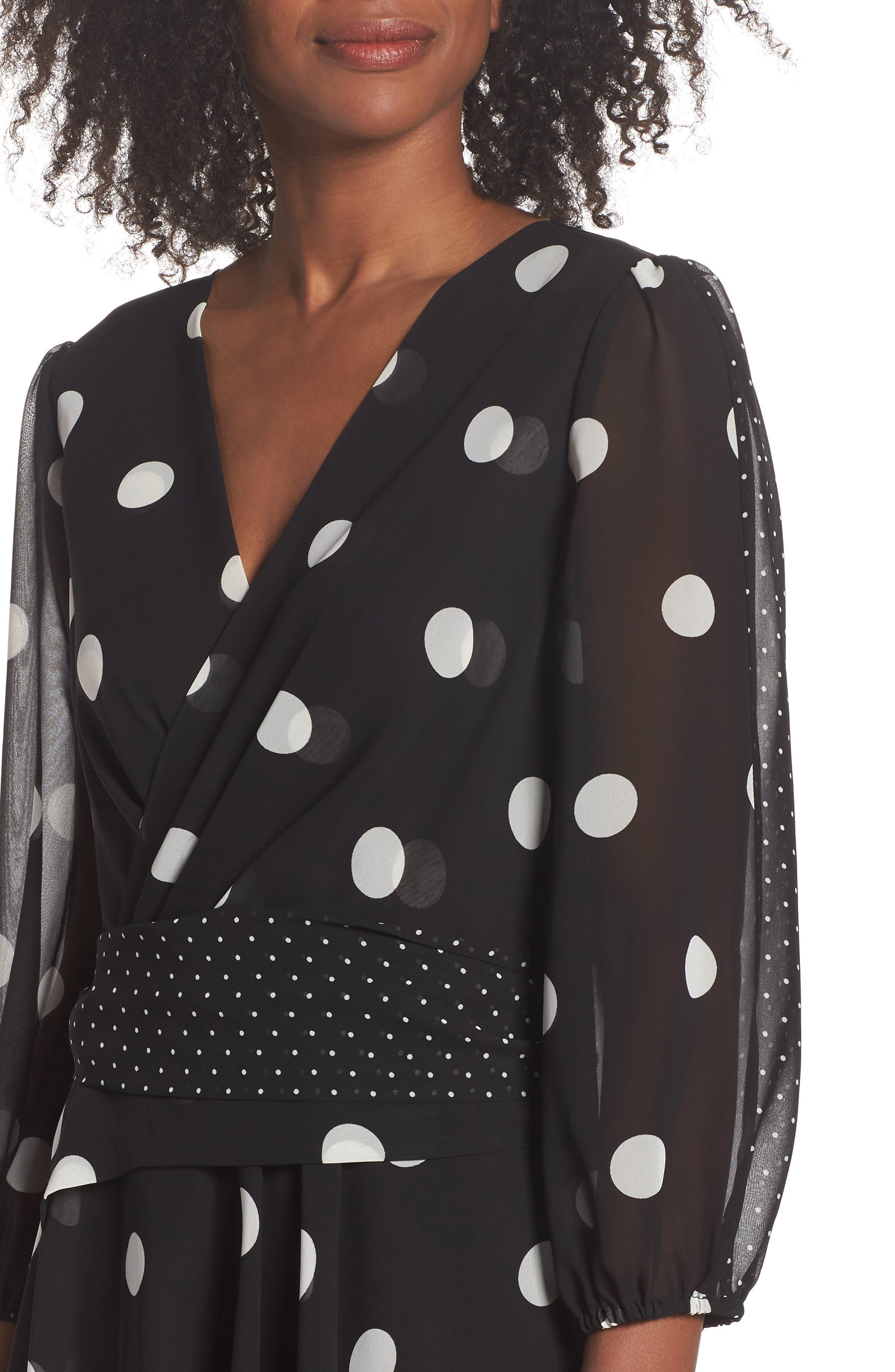 Polka Dot Chiffon Maxi Dress,                             Alternate thumbnail 4, color,                             012