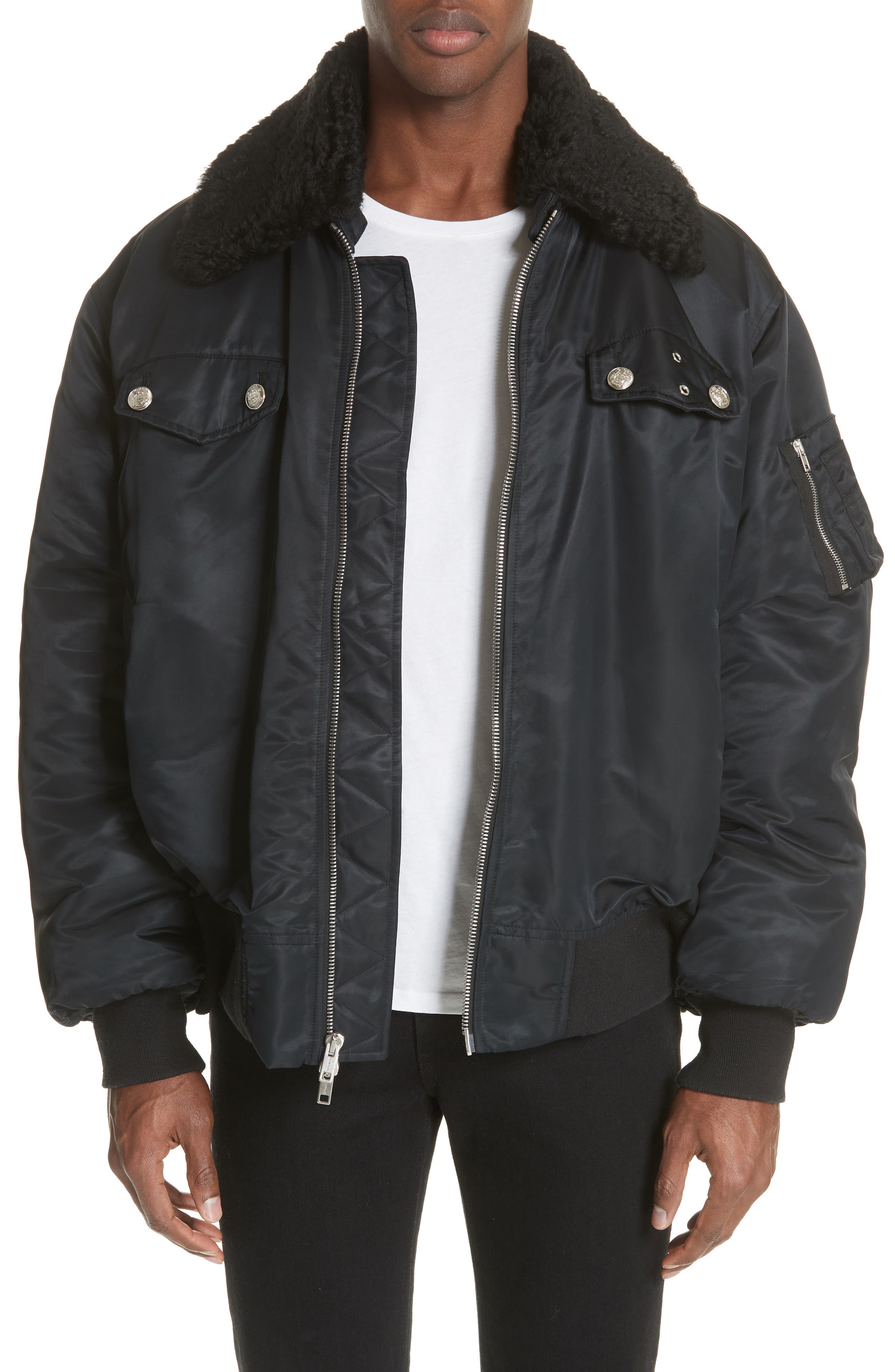 Oversize Bomber Jacket with Genuine Shearling Collar,                             Main thumbnail 1, color,                             BLACK