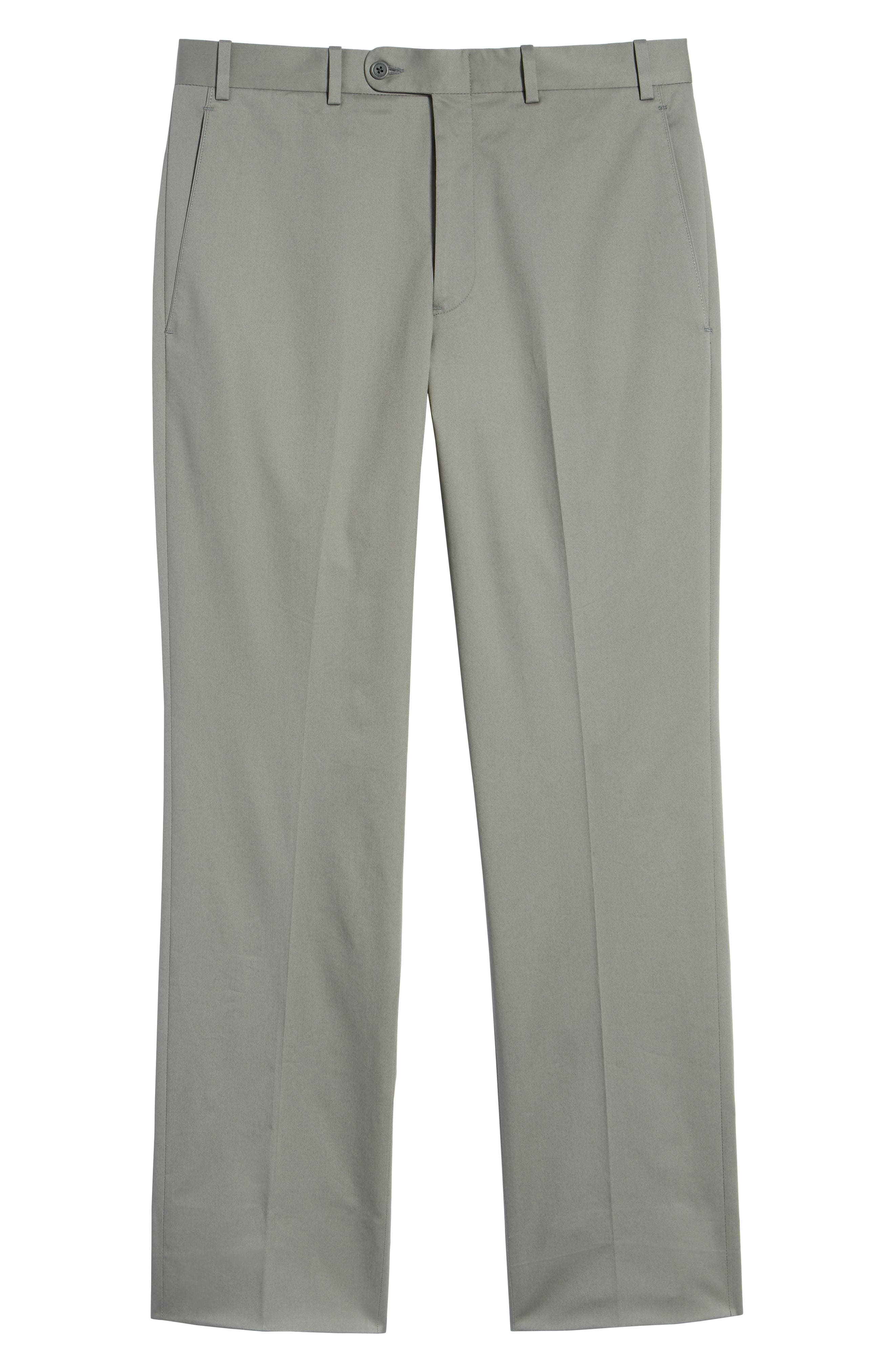 Torino Traditional Fit Flat Front Solid Stretch Cotton Trousers,                             Alternate thumbnail 6, color,                             GREY