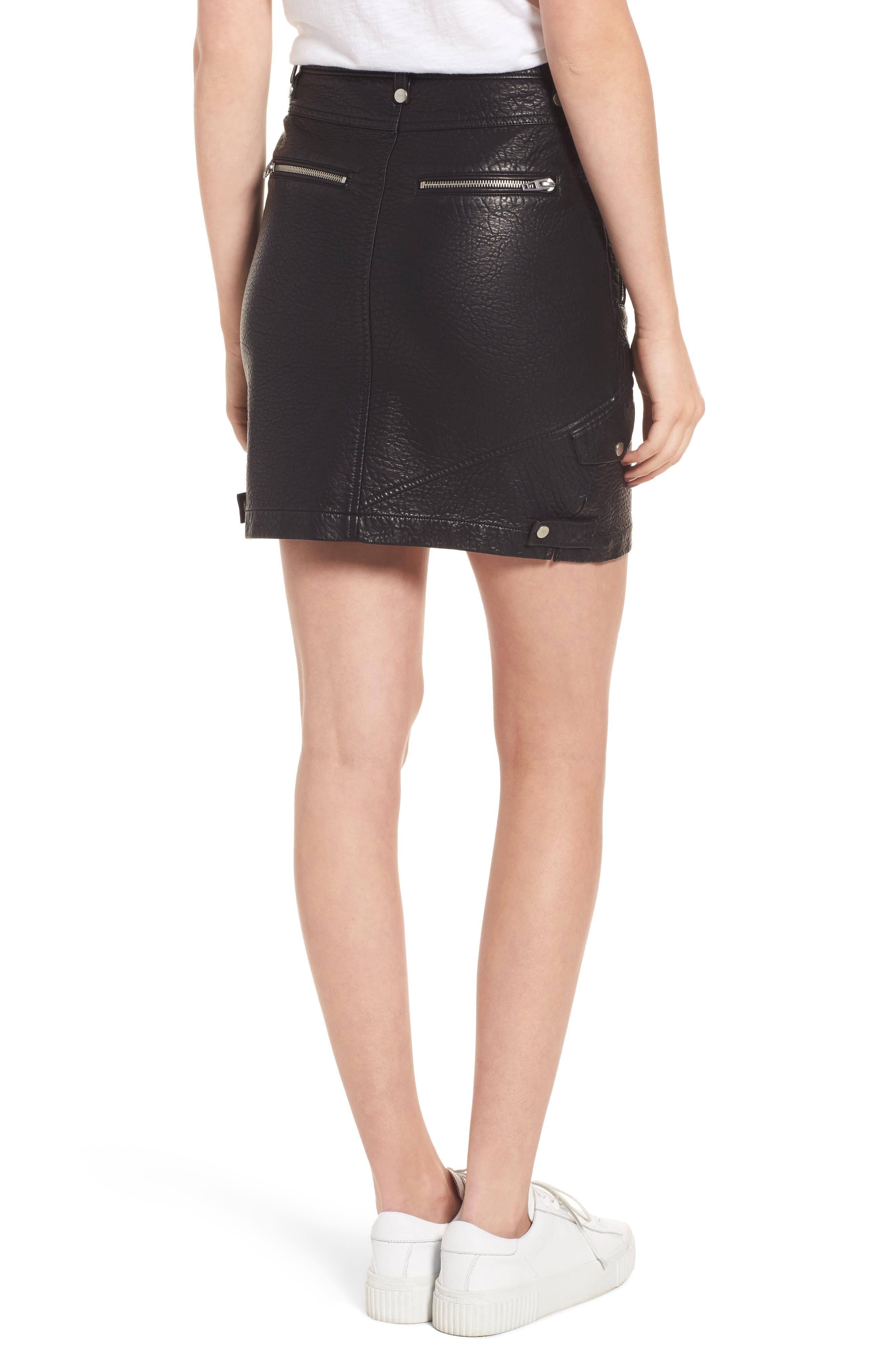 Faux Leather Moto Skirt,                             Alternate thumbnail 2, color,                             001
