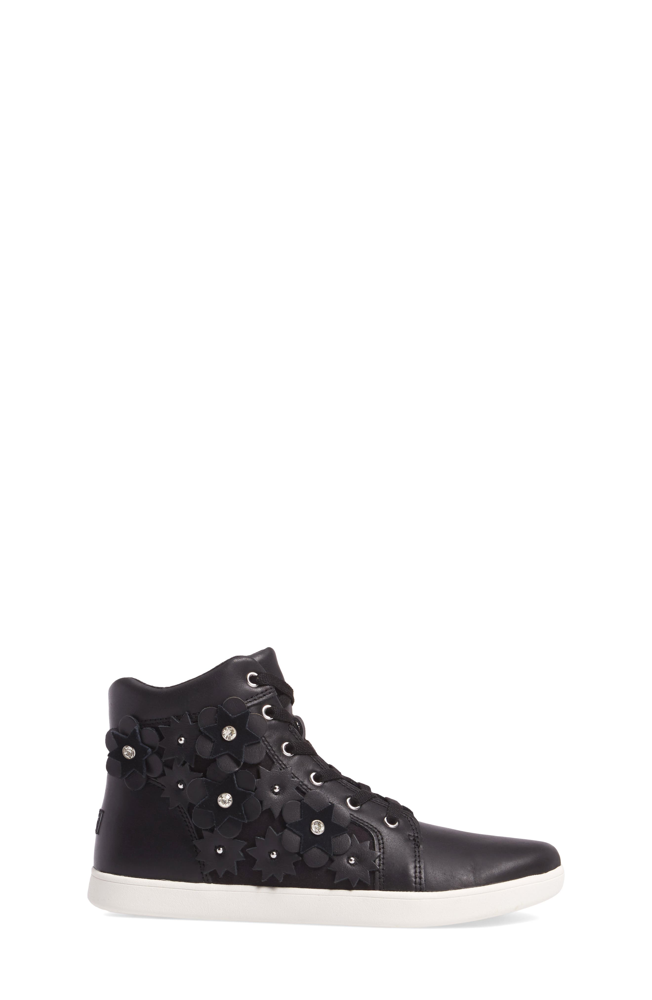 Schyler Petal Embellished High Top Sneaker,                             Alternate thumbnail 3, color,                             001