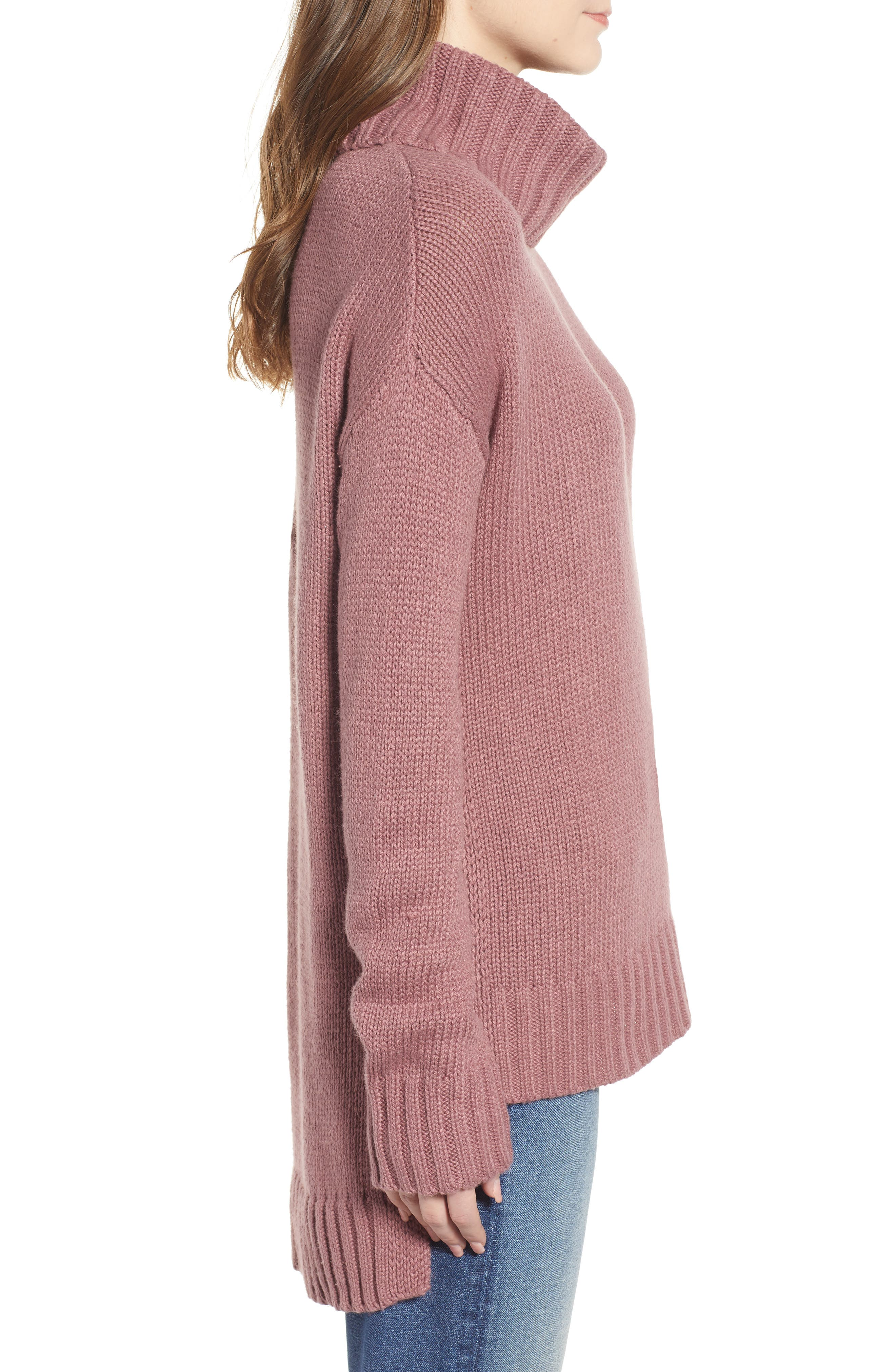 High/Low Turtleneck Sweater,                             Alternate thumbnail 3, color,                             PURPLE TAUPE