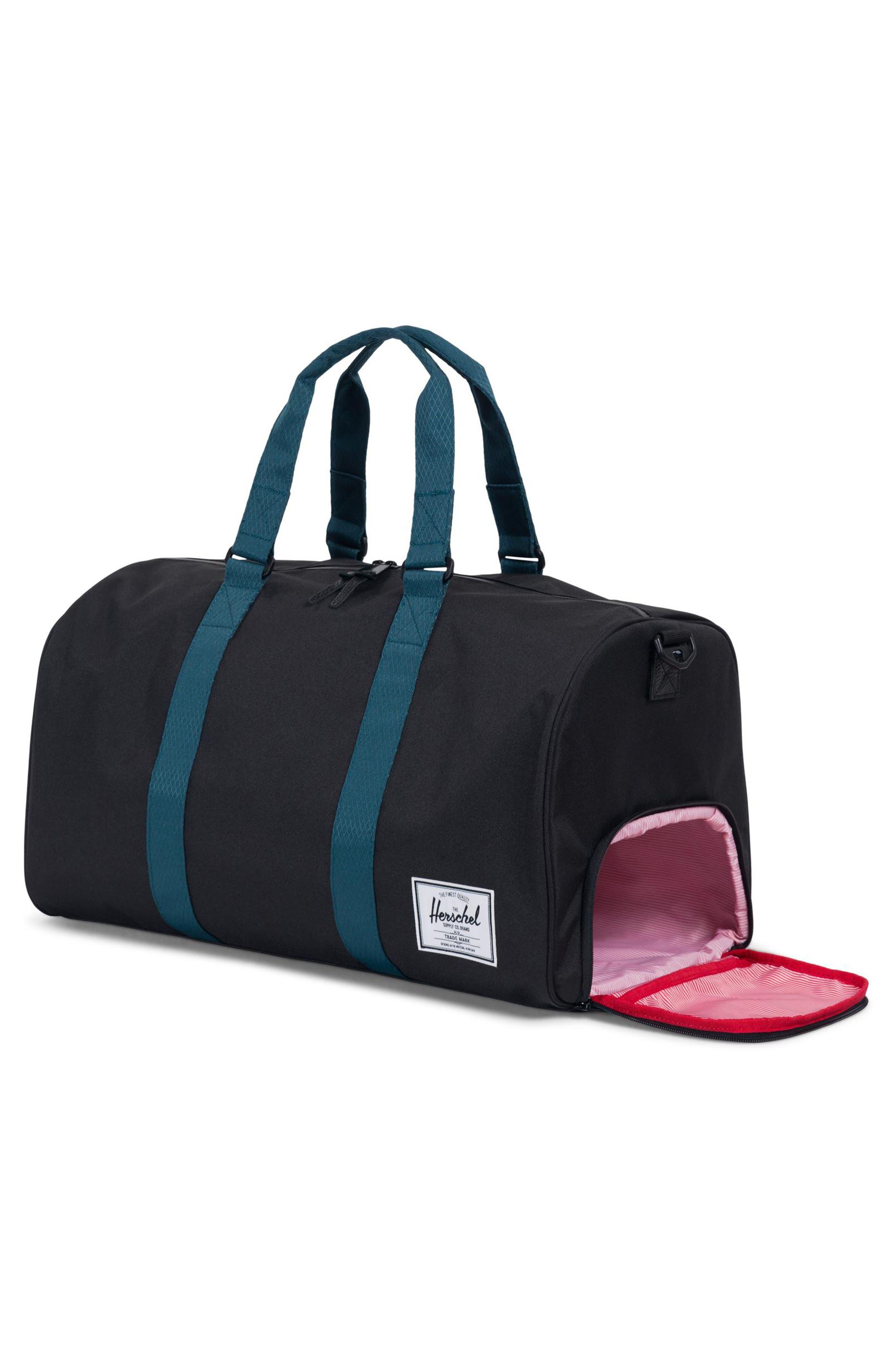 Novel Duffel Bag,                             Alternate thumbnail 3, color,                             BLACK/ DEEP TEAL