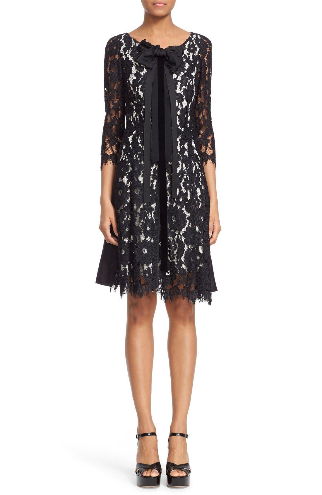 Bow Detail Lace Shift Dress,                         Main,                         color, 001